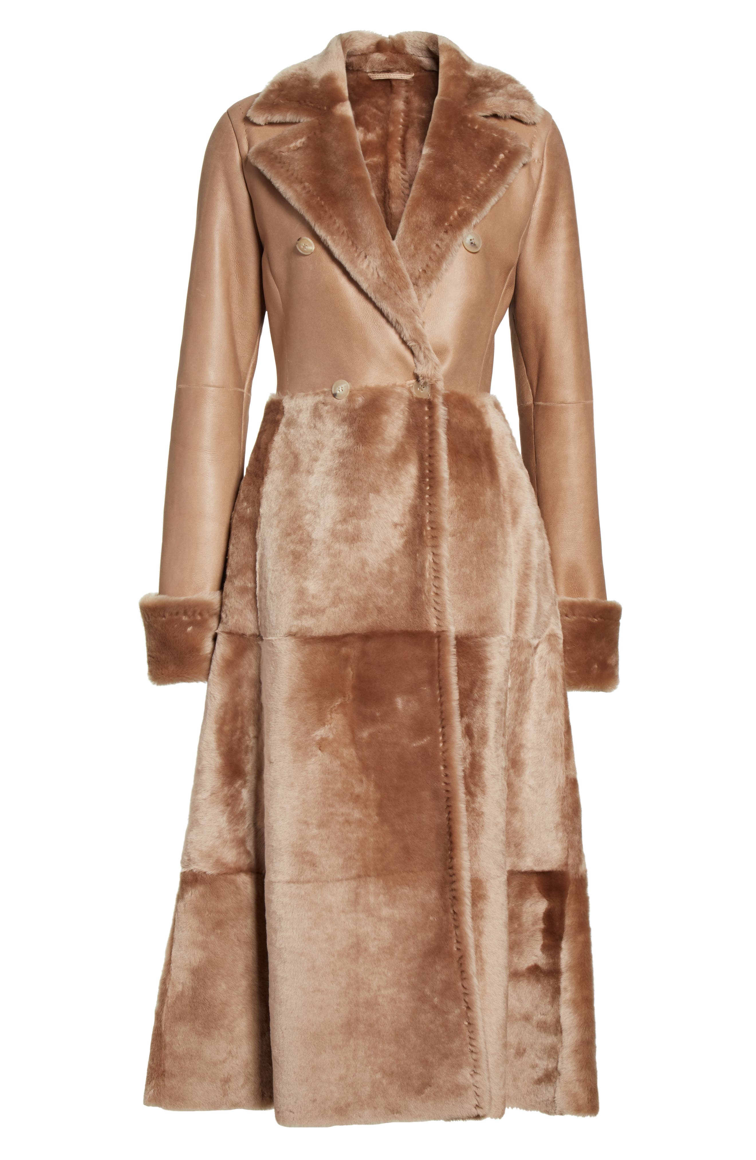 MAX MARA, Rimini Genuine Shearling Coat, Alternate thumbnail 5, color, CAMEL