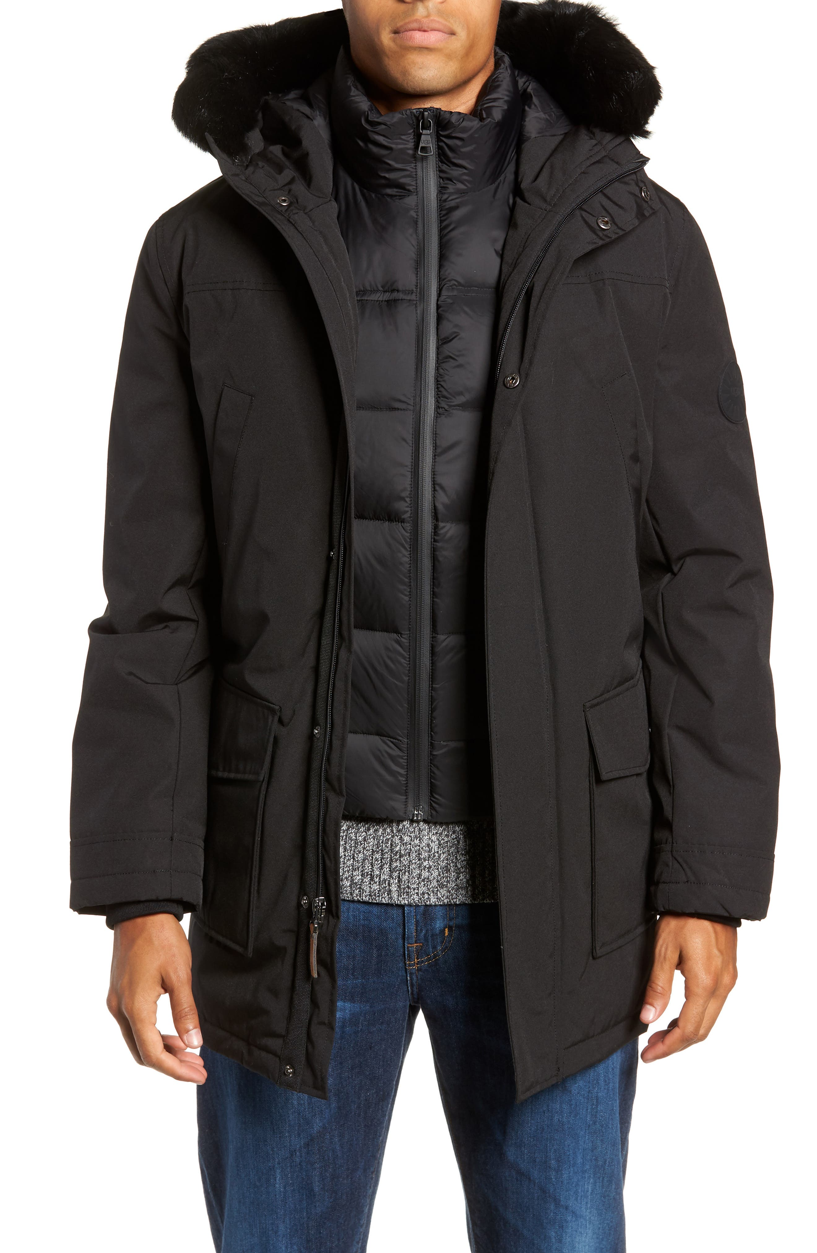 UGG<SUP>®</SUP> Butte Water-Resistant Down Parka with Genuine Shearling Trim, Main, color, 001