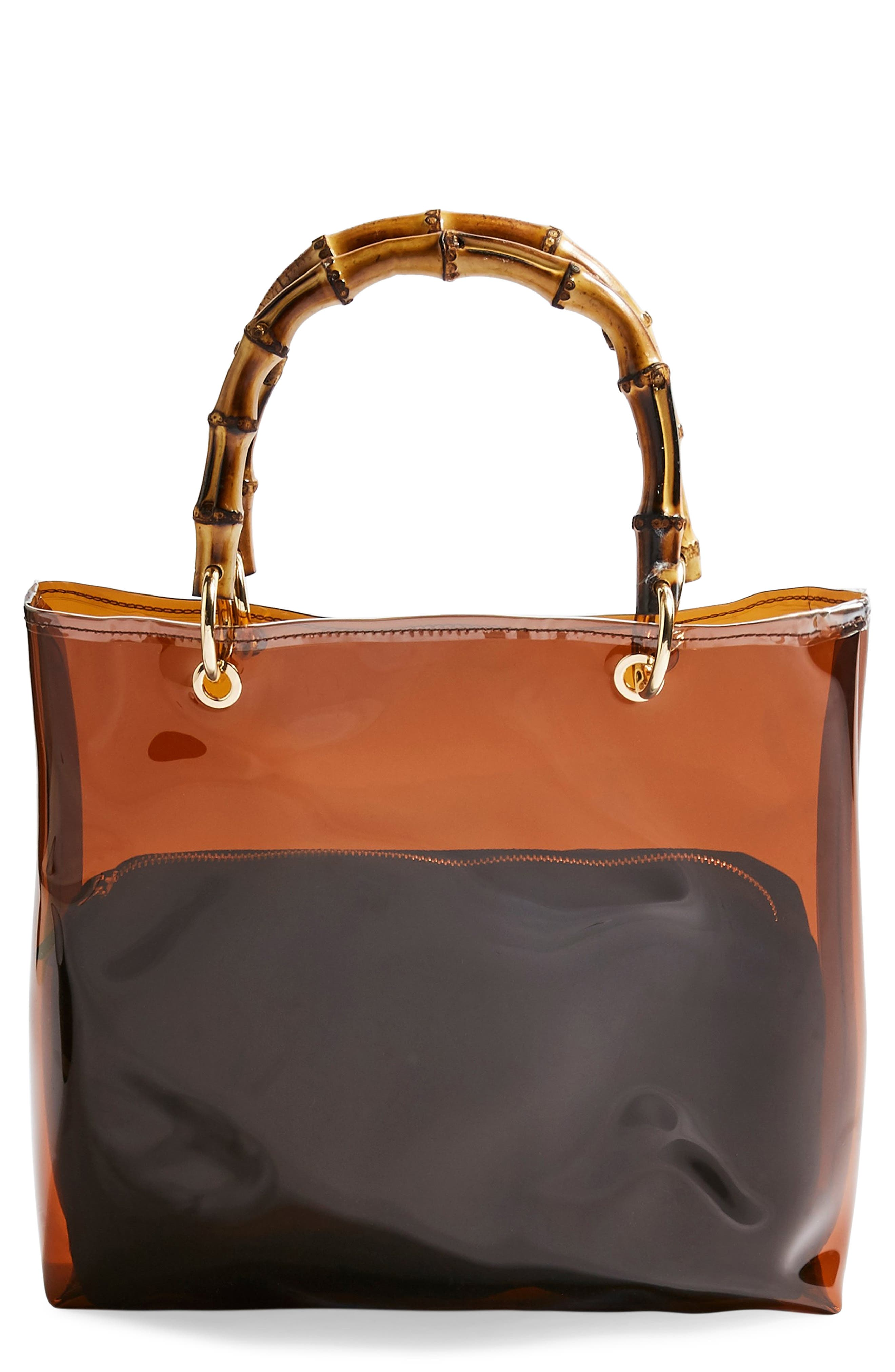 TOPSHOP Mercy Top Handle Tote Bag, Main, color, BROWN