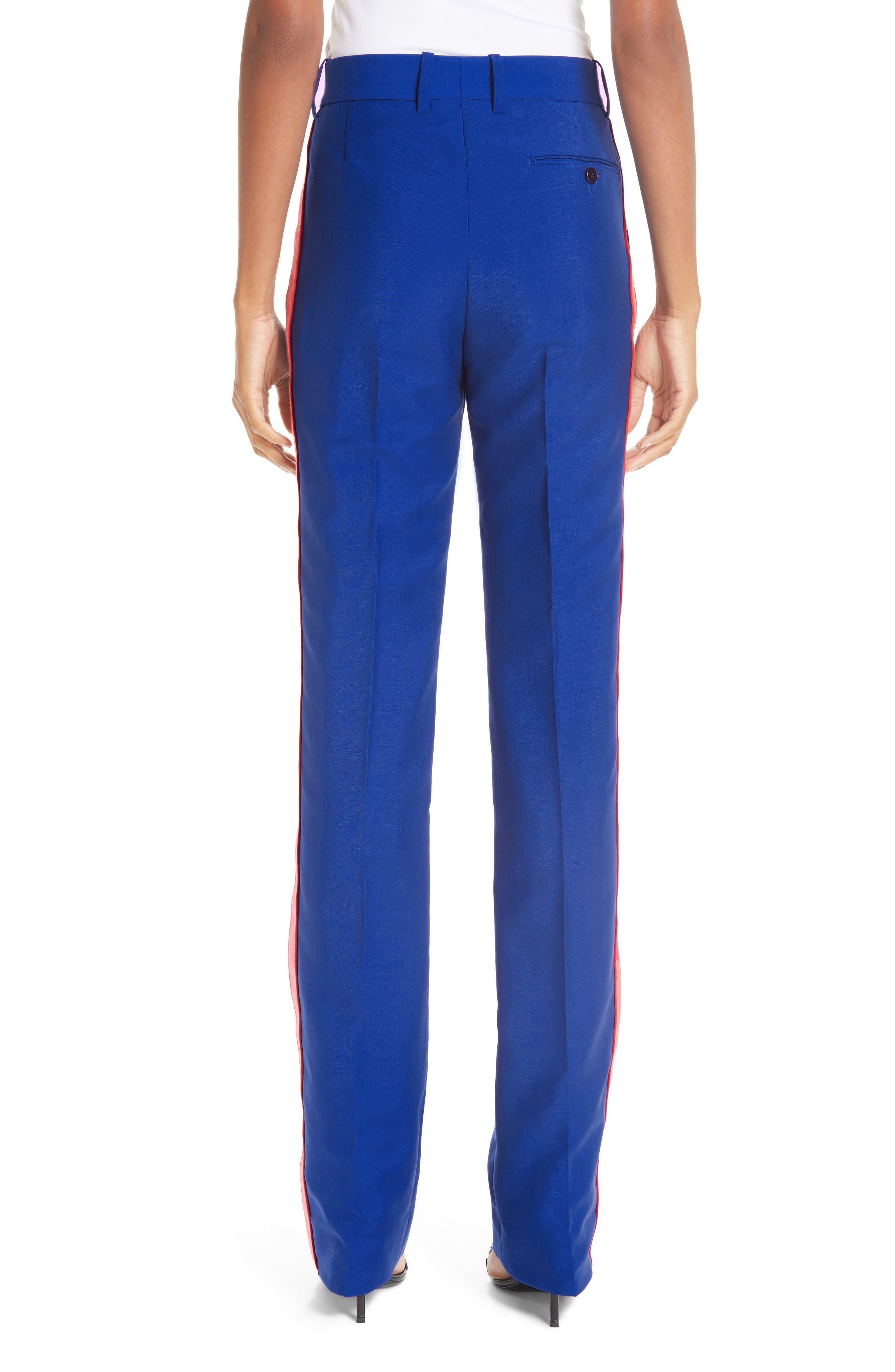 CALVIN KLEIN 205W39NYC, Side Stripe Mohair & Wool Straight Leg Pants, Alternate thumbnail 2, color, BRIGHT BLUE
