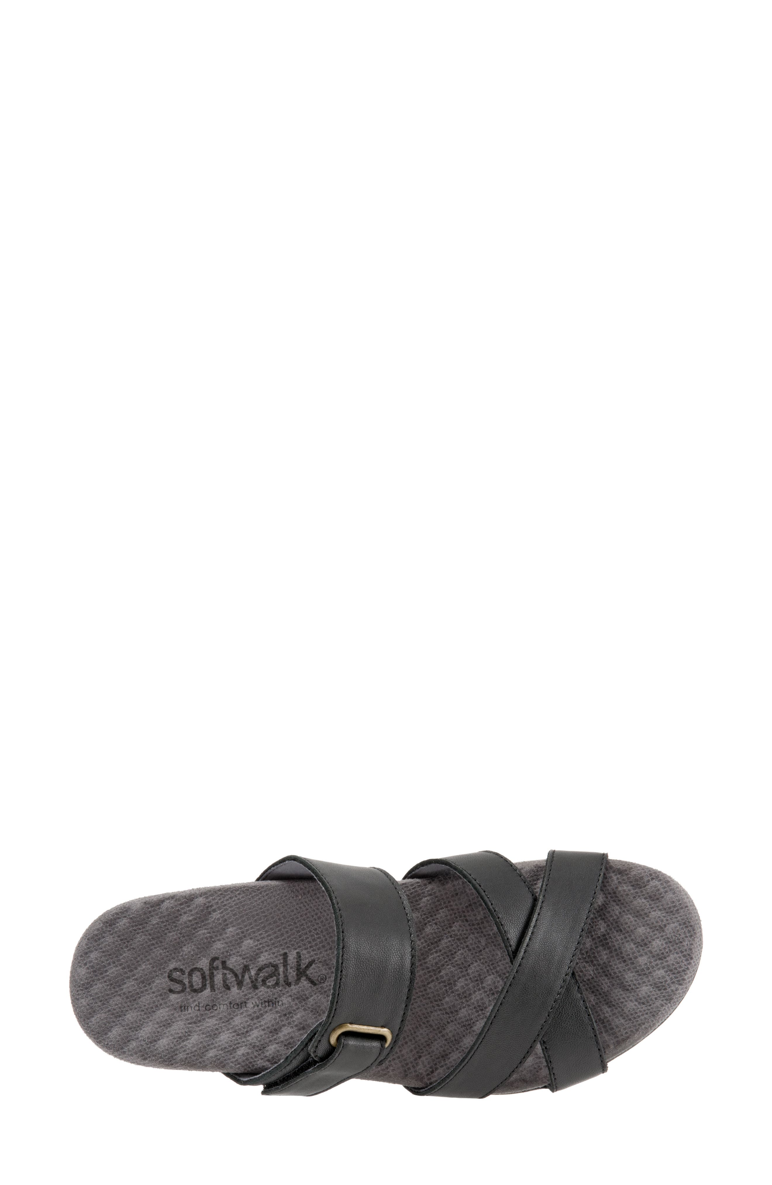 SOFTWALK<SUP>®</SUP>, Brimley Sandal, Alternate thumbnail 5, color, BLACK LEATHER