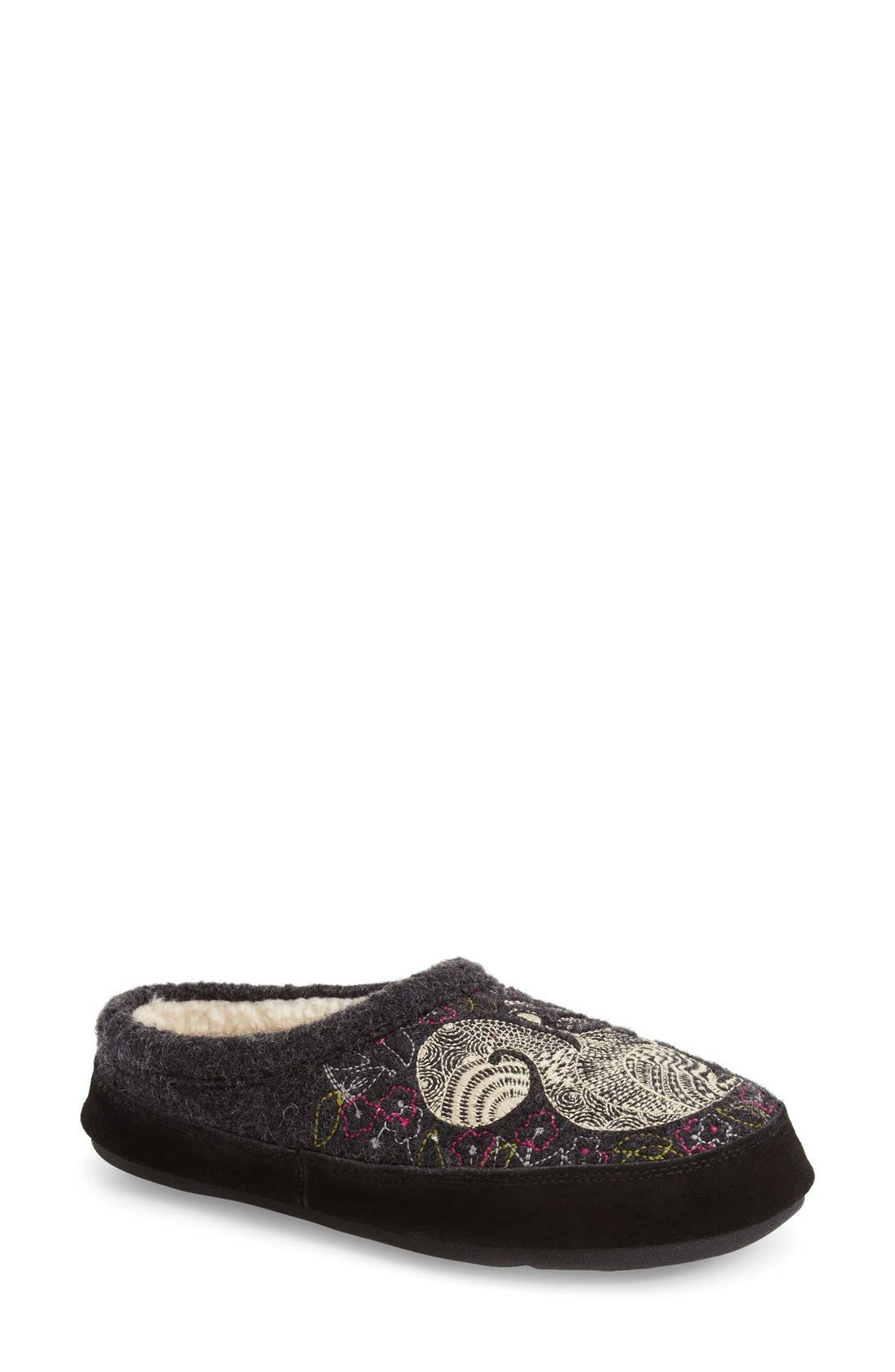 ACORN, 'Forest' Wool Mule Slipper, Main thumbnail 1, color, GREY SQUIRREL