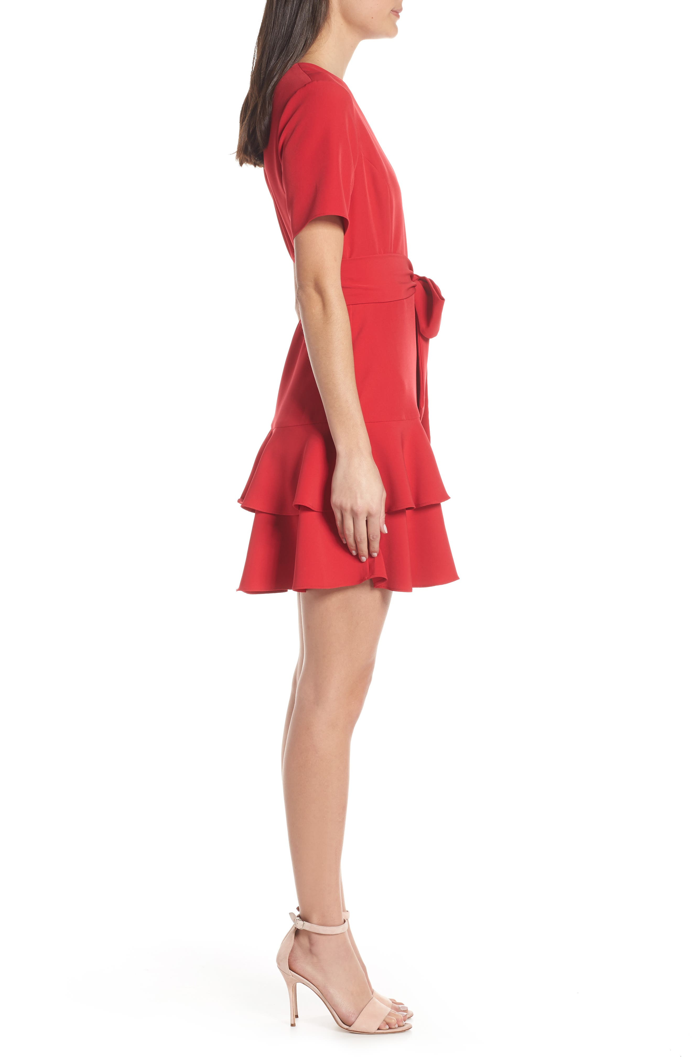 CHARLES HENRY, Ruffle Tiered Wrap Dress, Alternate thumbnail 4, color, SCARLET