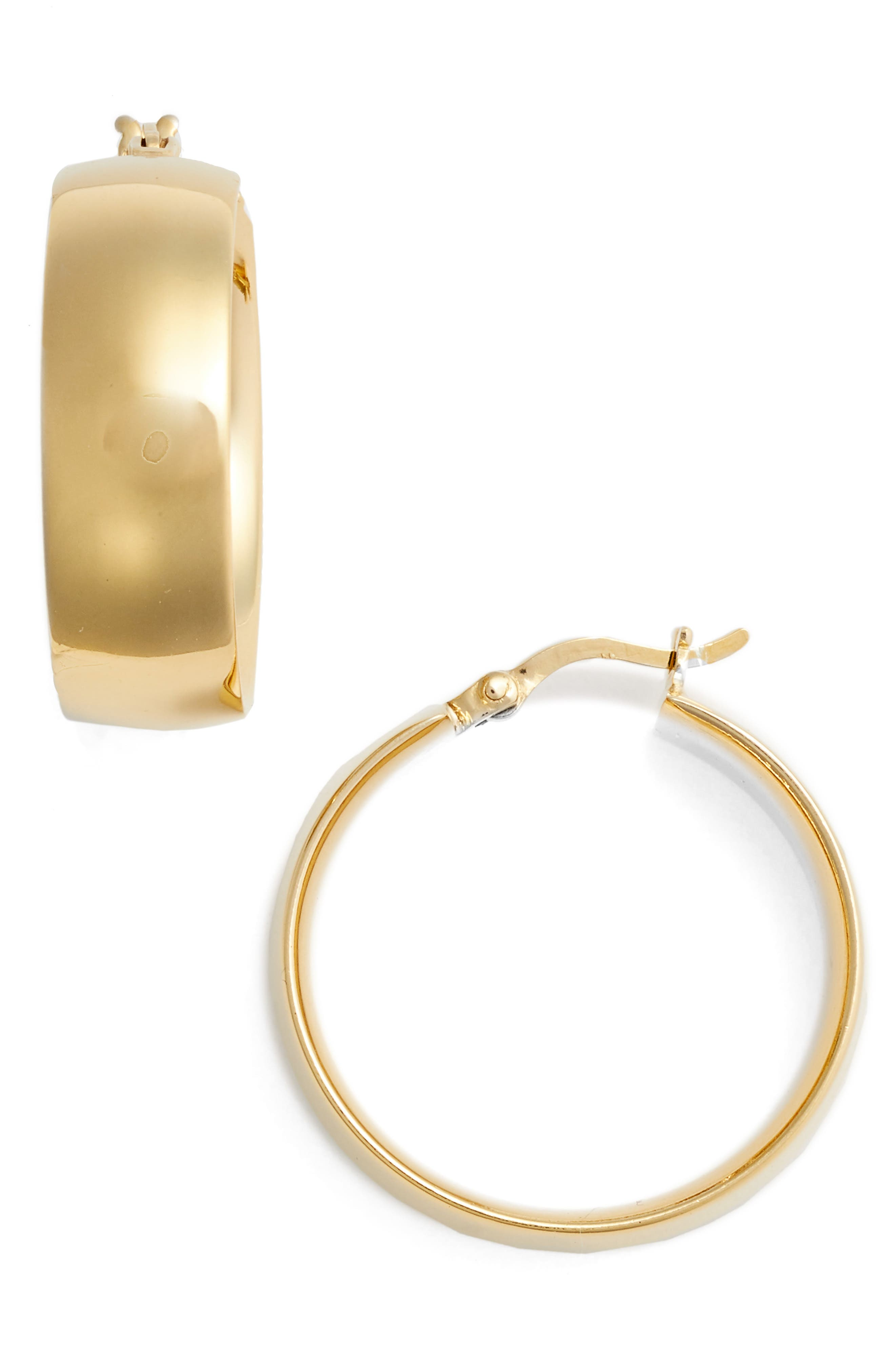 ARGENTO VIVO, Flat Edge Hoop Earrings, Main thumbnail 1, color, GOLD