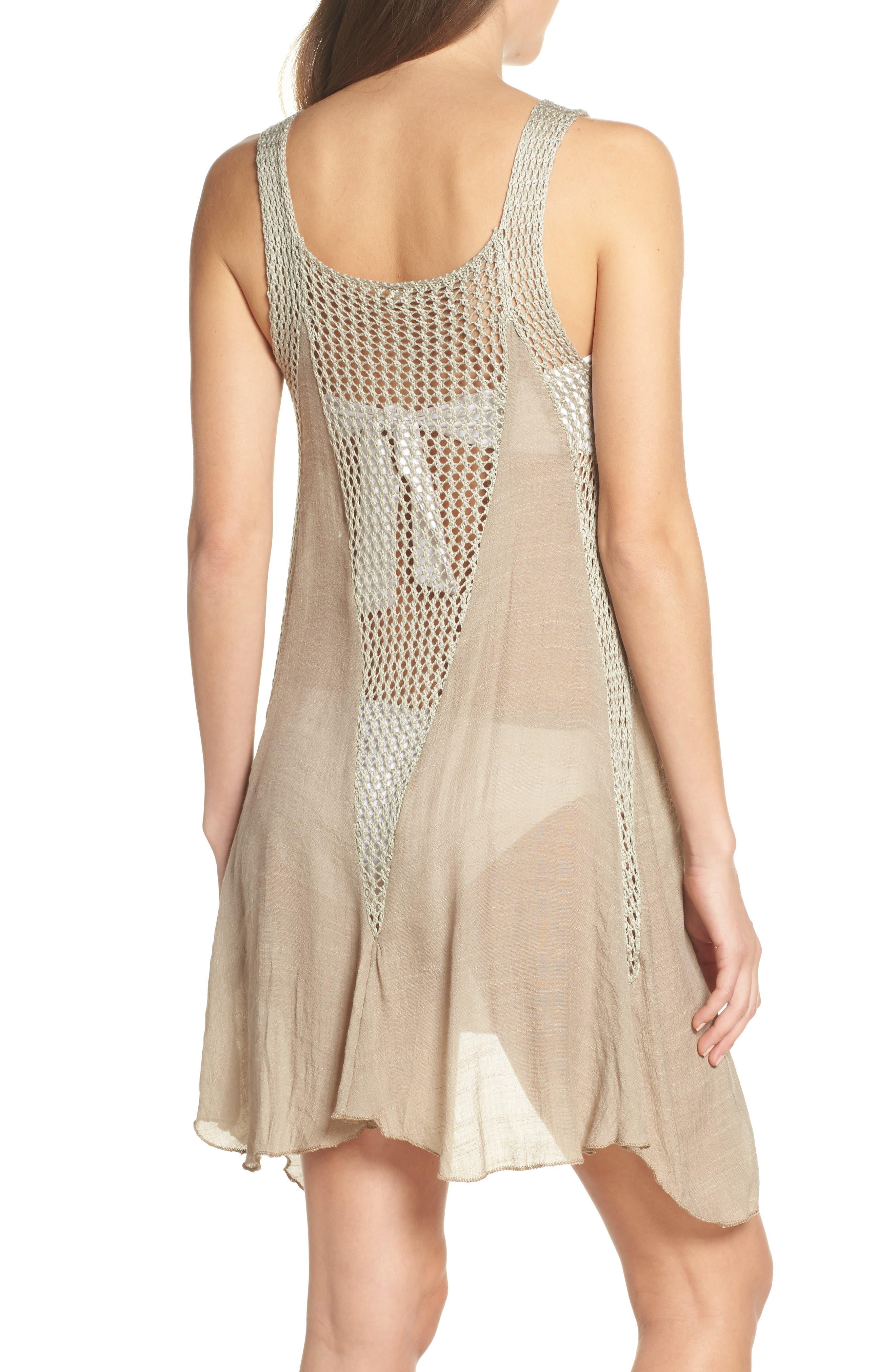 ELAN, Crochet Inset Cover-Up Dress, Alternate thumbnail 2, color, SAGE