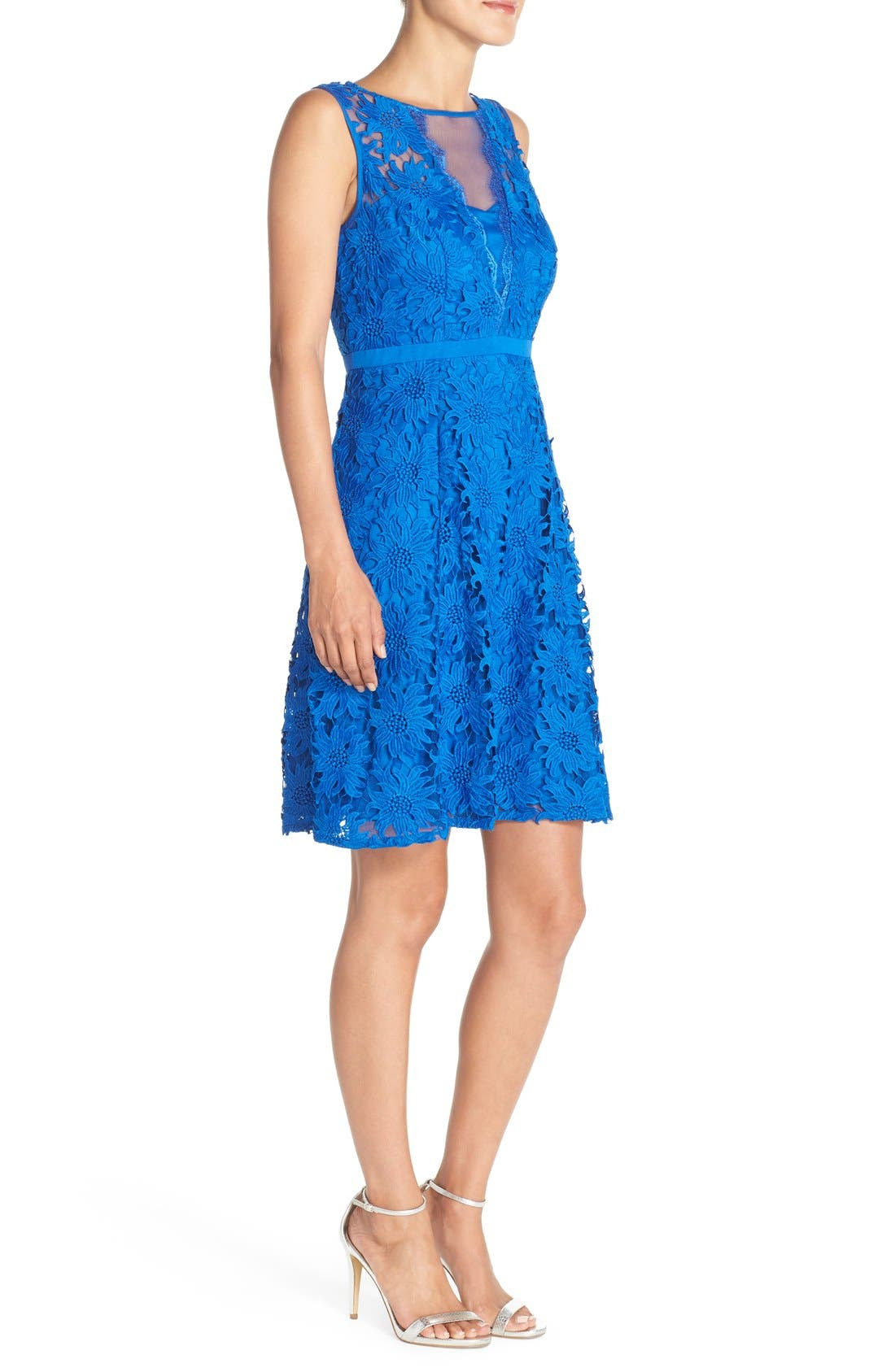 ADRIANNA PAPELL, Illusion Floral Lace Fit & Flare Dress, Alternate thumbnail 4, color, 433
