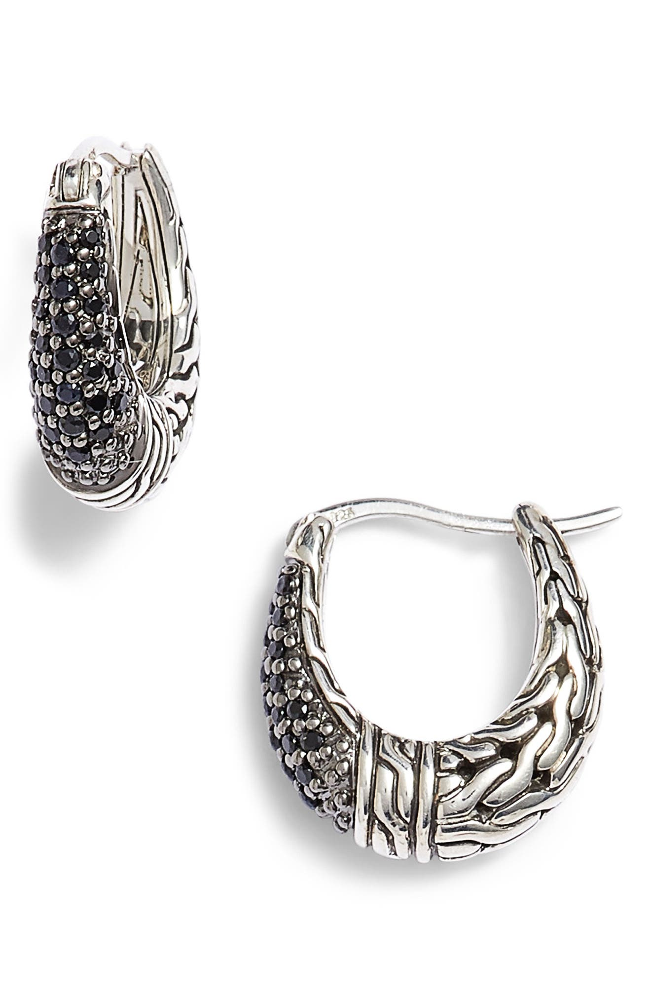 JOHN HARDY, Classic Chain Gemstone Hoop Earrings, Main thumbnail 1, color, SILVER/ BLACK SAPPHIRE