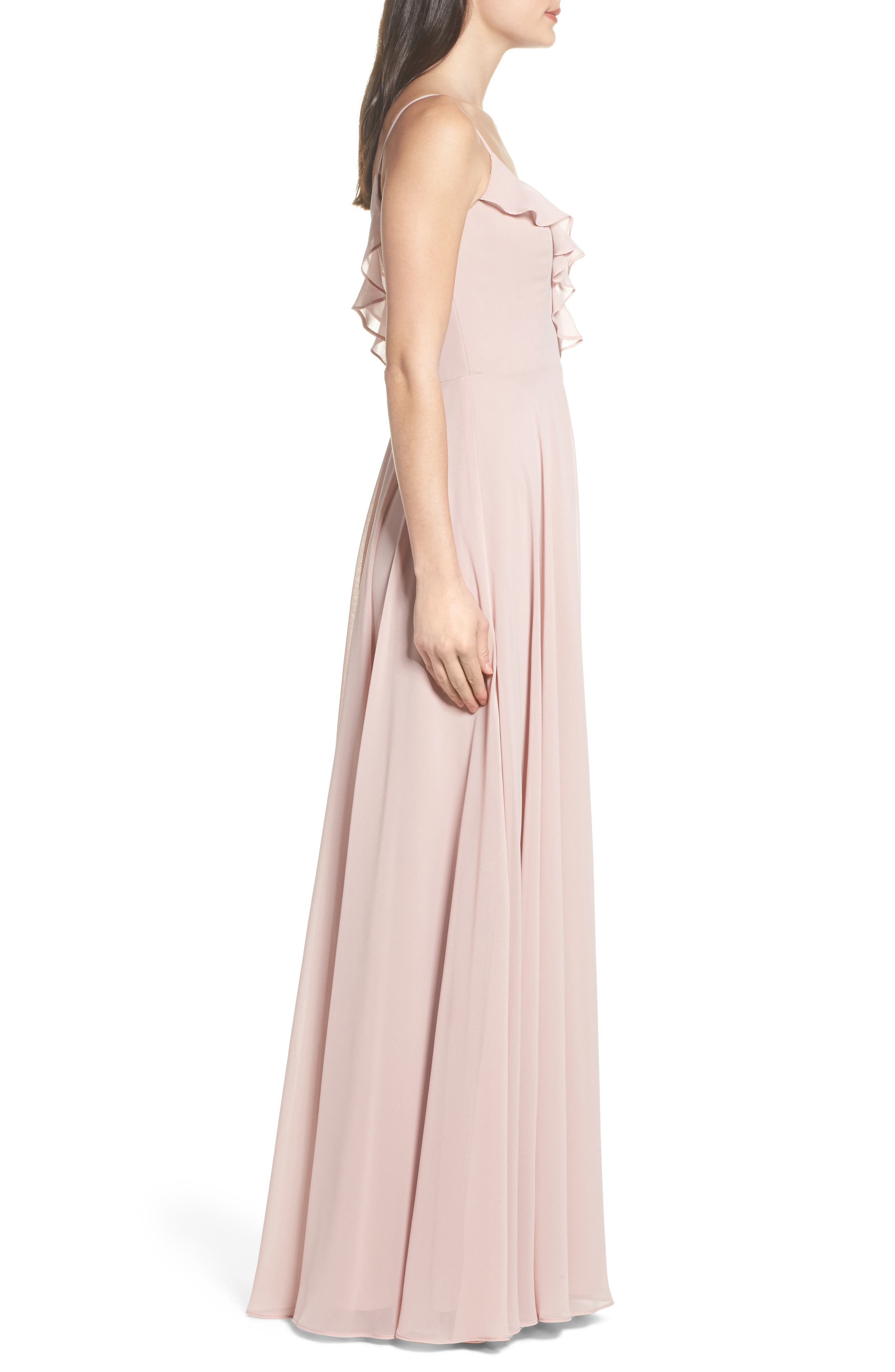 HAYLEY PAIGE OCCASIONS, Ruffle Chiffon Gown, Alternate thumbnail 4, color, DUSTY ROSE