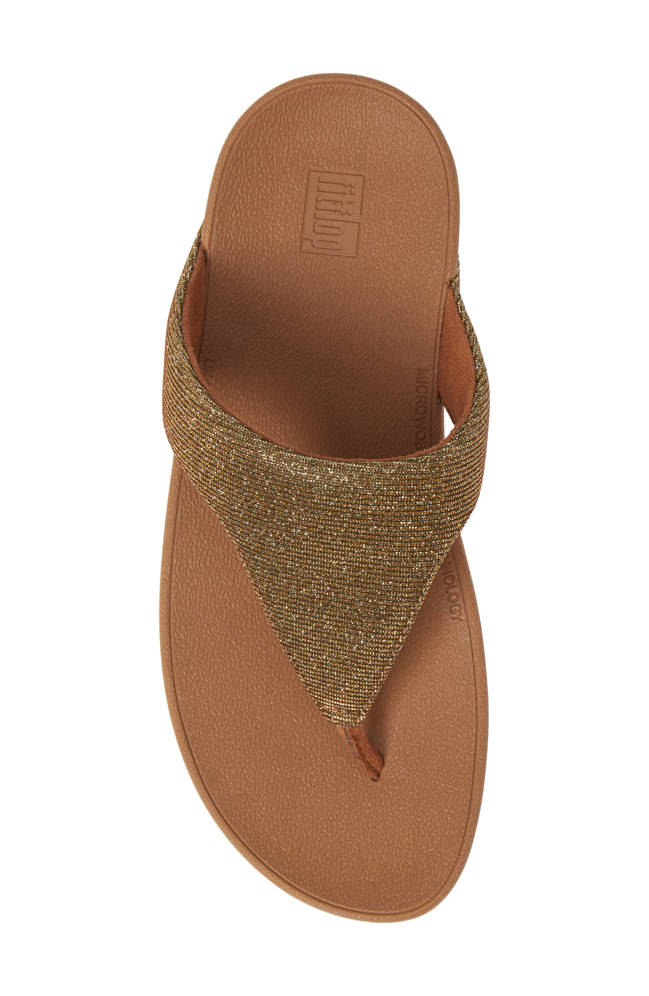 FITFLOP, Lottie Glitzy Wedge Flip Flop, Alternate thumbnail 5, color, ARTISAN GOLD