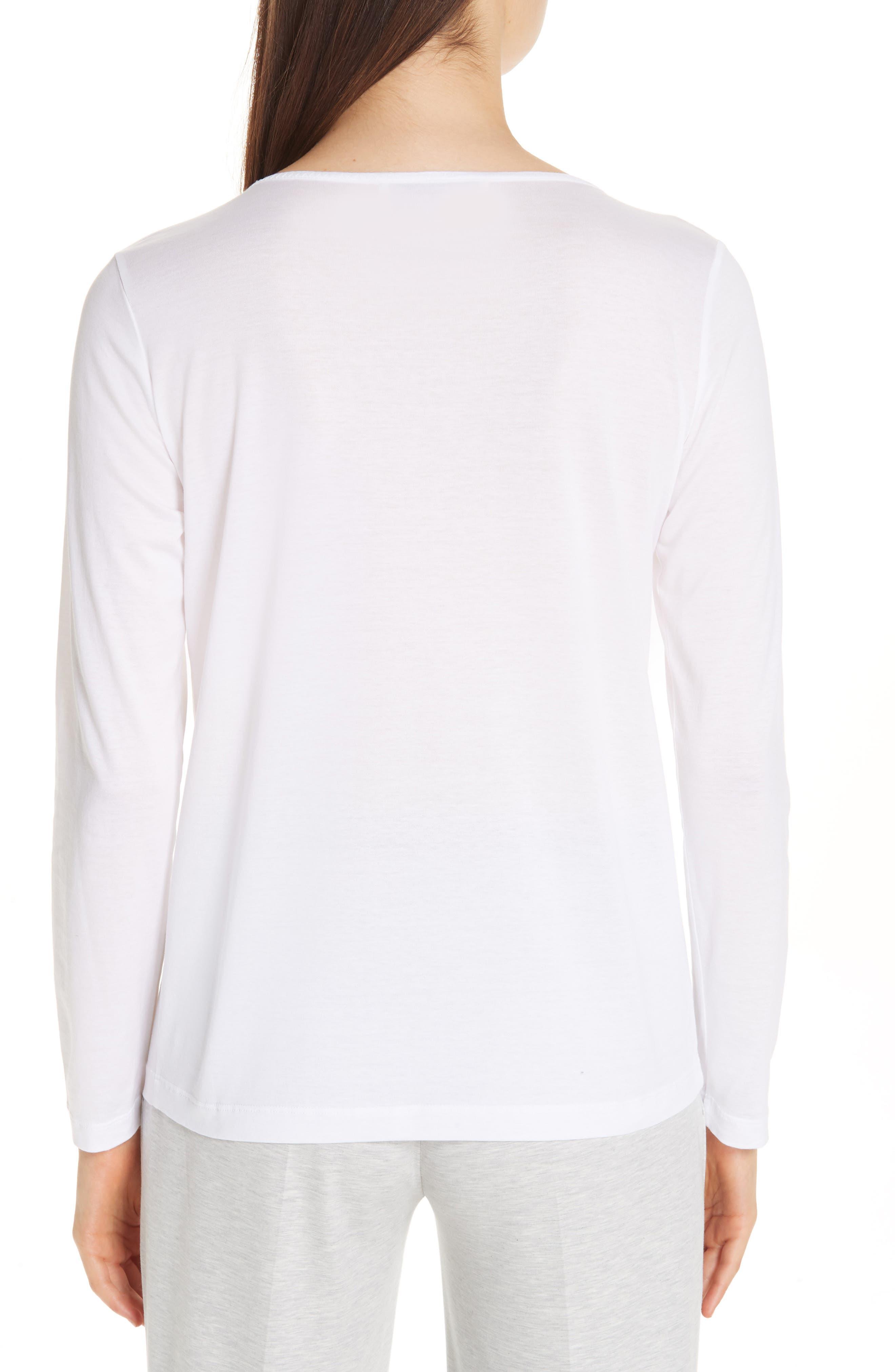 FABIANA FILIPPI, Chain Trim Jersey Top, Alternate thumbnail 2, color, WHITE