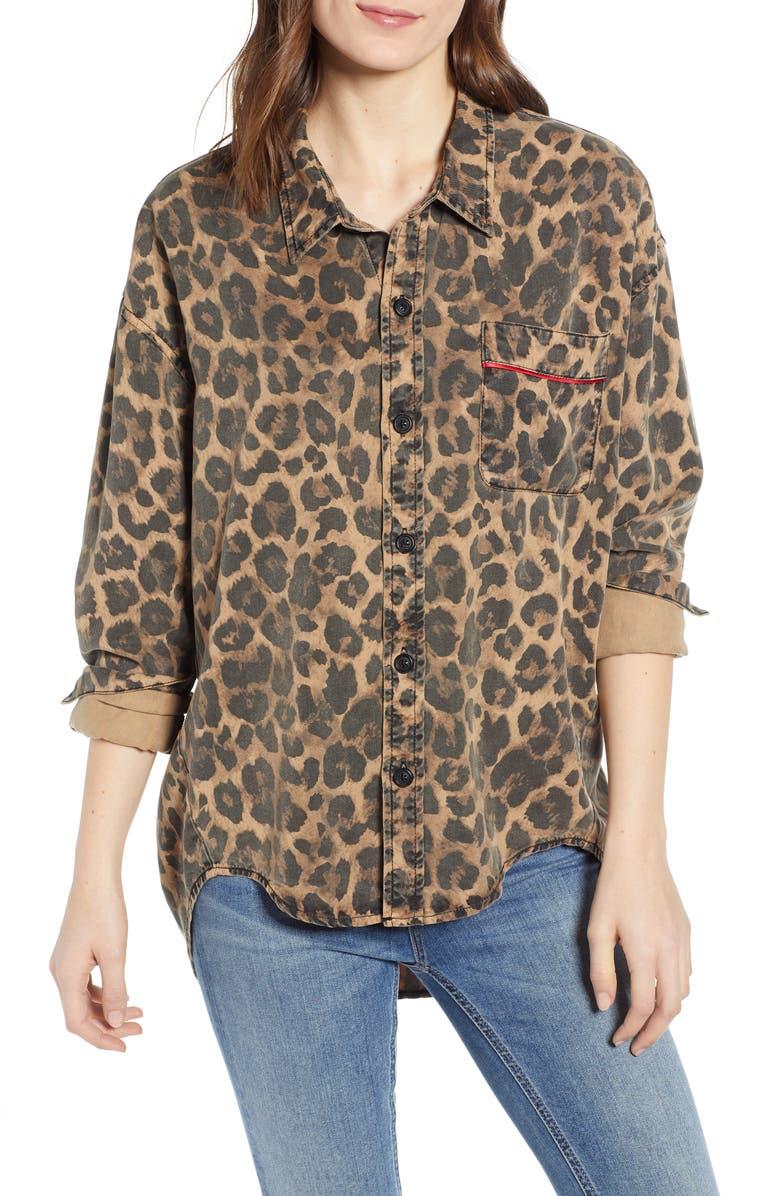 Pam & Gela T-shirts LEOPARD PRINT OVERSIZE SHIRT