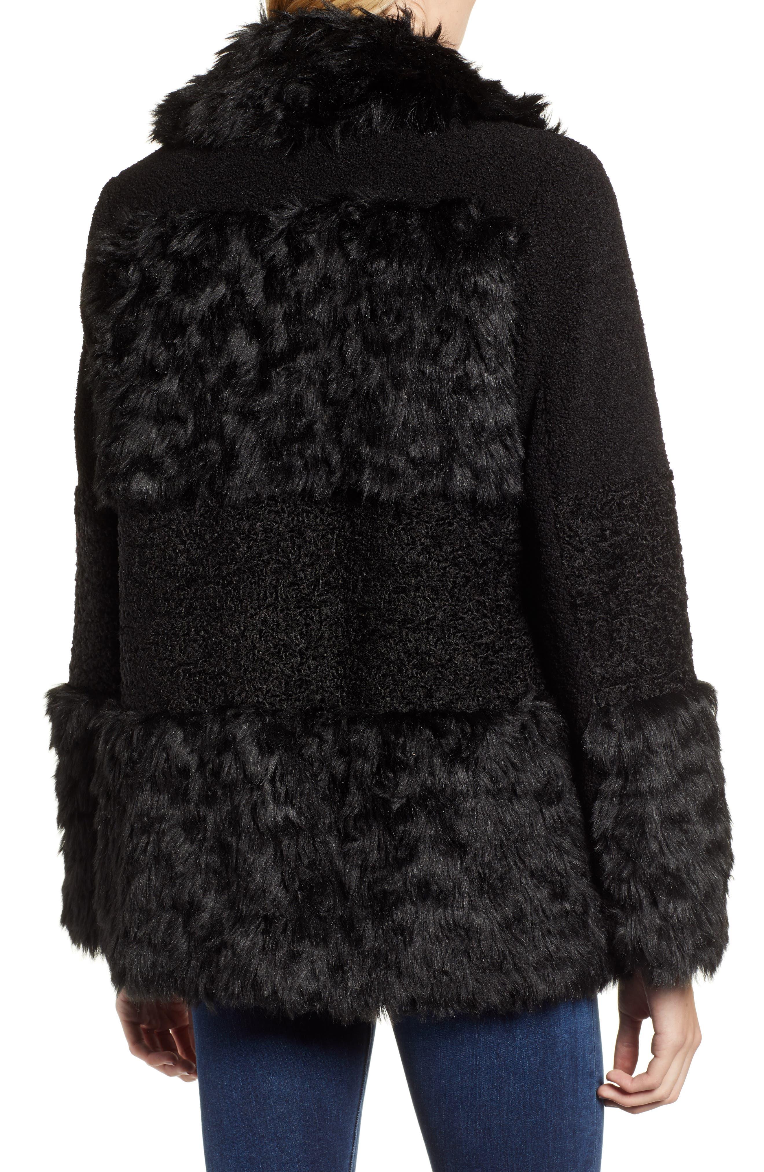 KENSIE, Faux Fur Patchwork Coat, Alternate thumbnail 2, color, 001