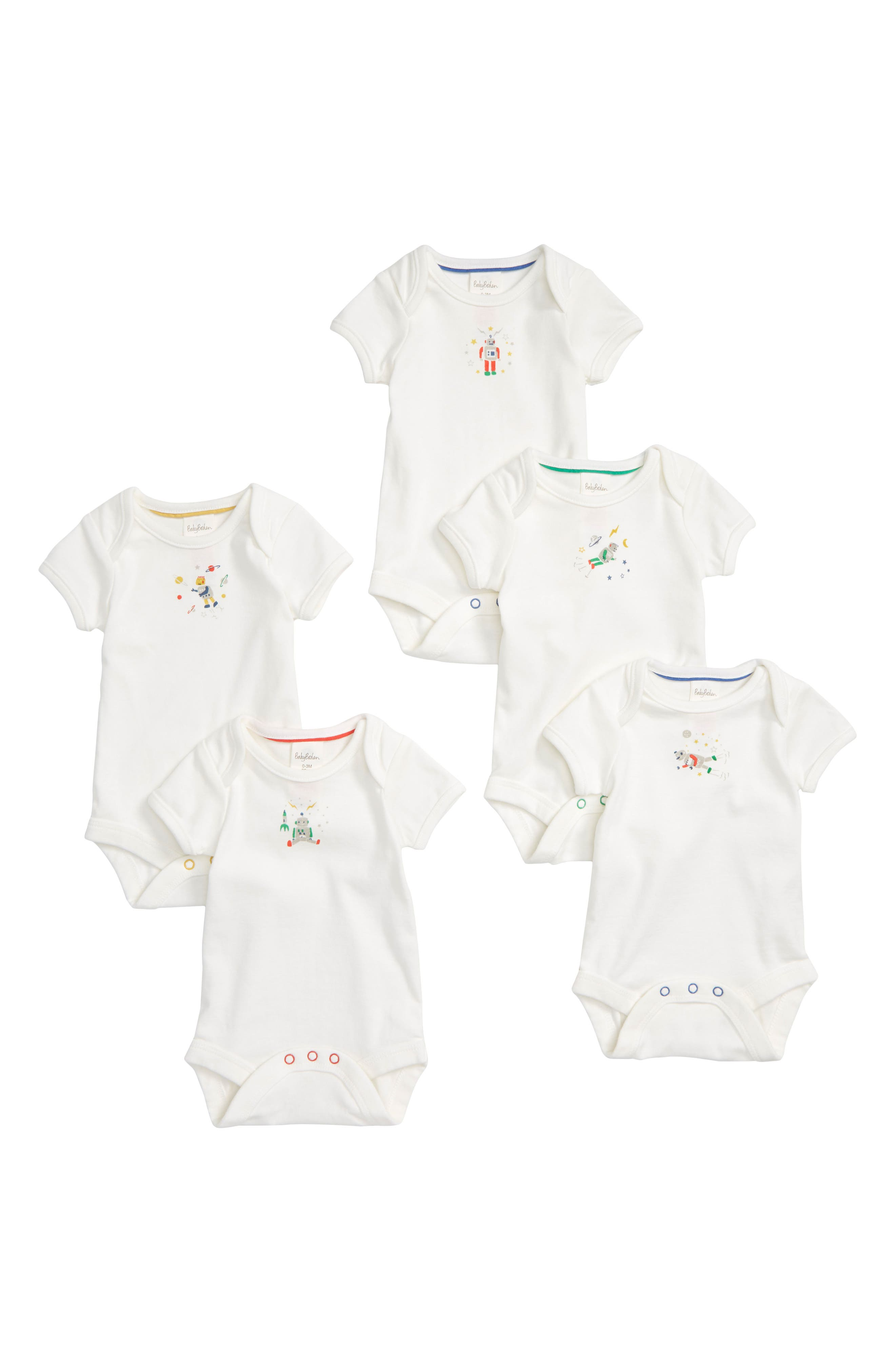 MINI BODEN, Robot 5-Pack Organic Cotton Bodysuits, Main thumbnail 1, color, 186