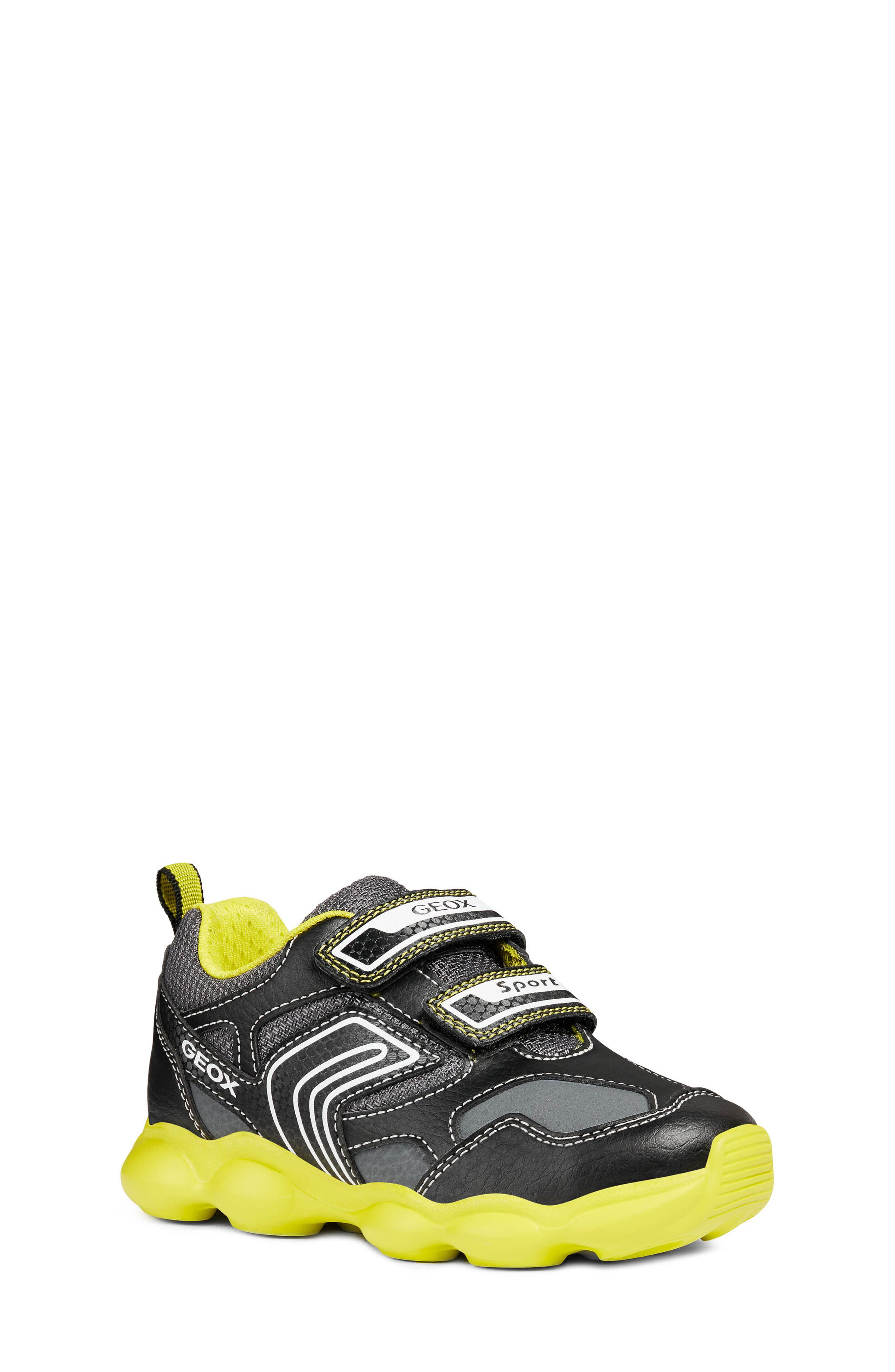 GEOX, Munfrey Waterproof Sneaker, Main thumbnail 1, color, BLACK/ LIME