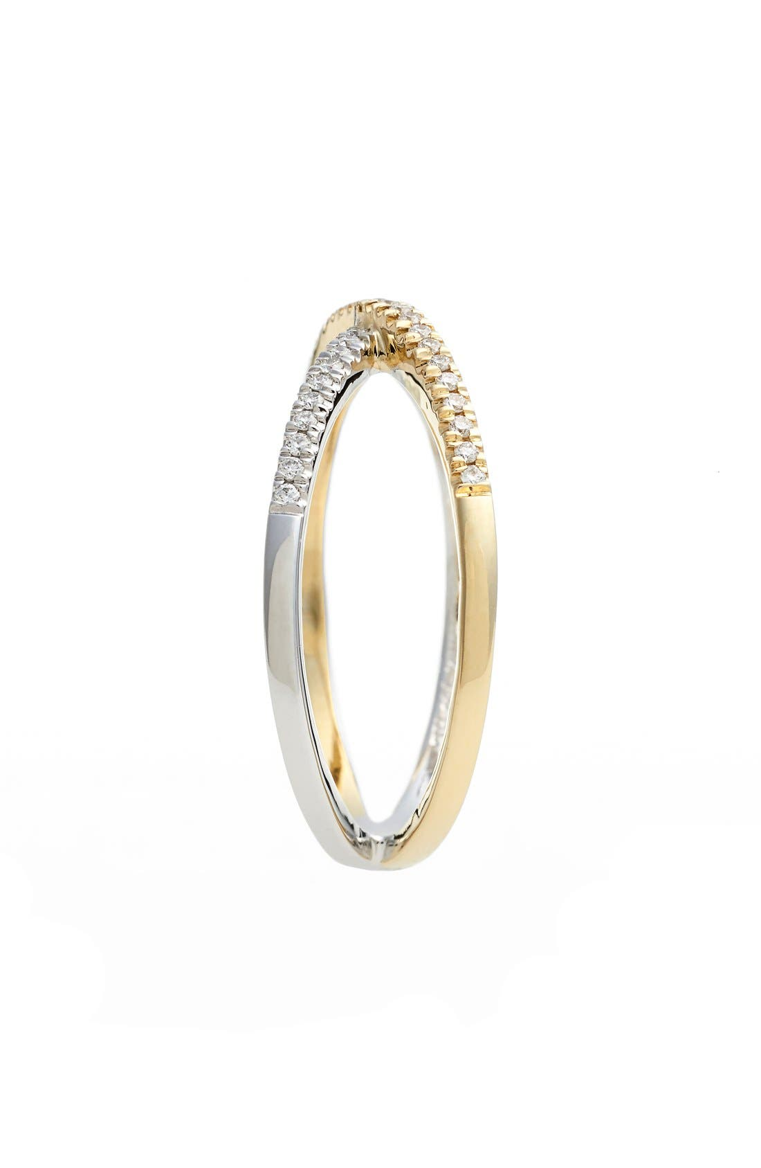 BONY LEVY, Stackable Crossover Diamond Ring, Alternate thumbnail 2, color, WHITE GOLD/ YELLOW GOLD