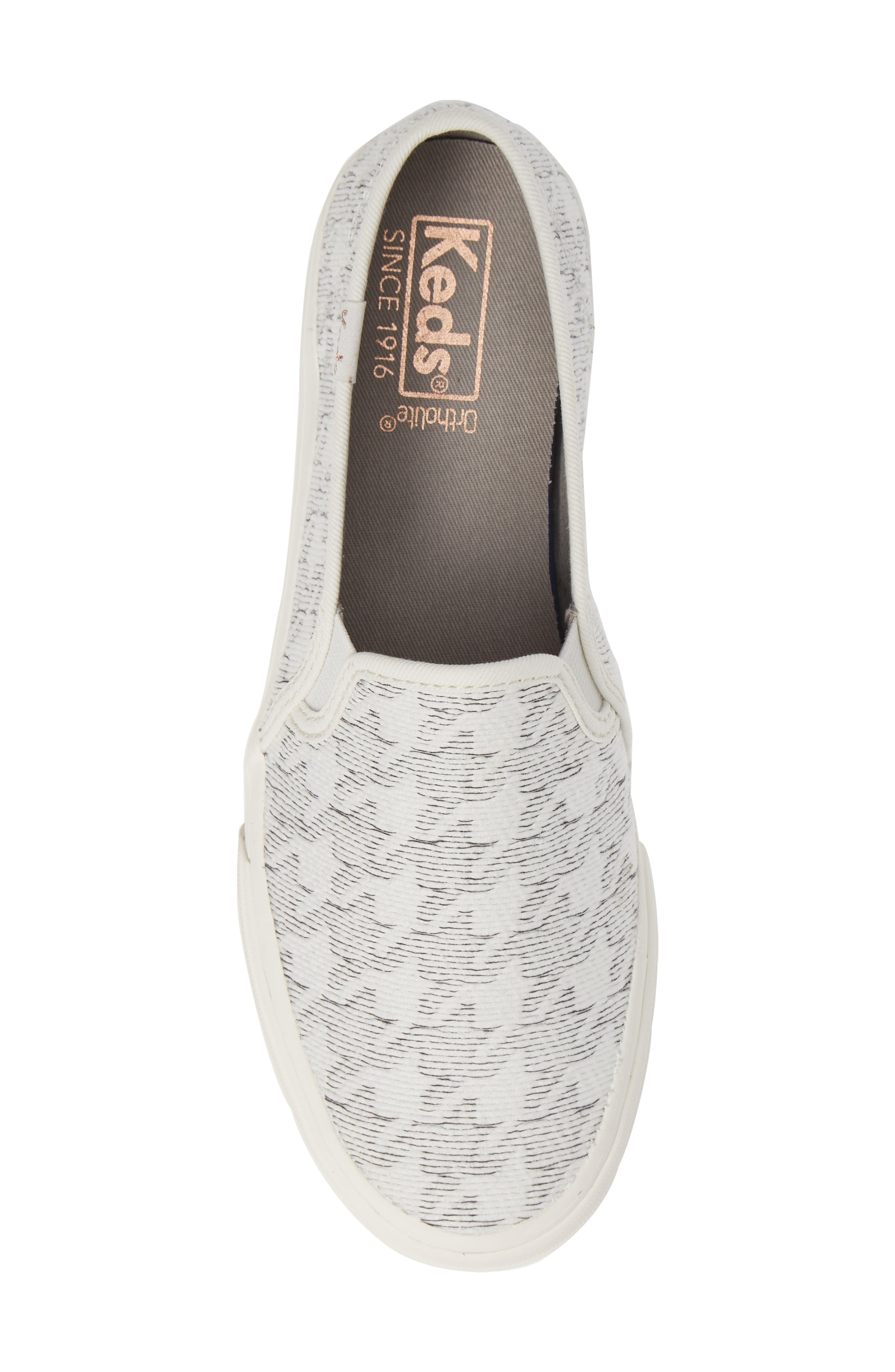 KEDS<SUP>®</SUP>, 'Double Decker' Slip-On Sneaker, Alternate thumbnail 5, color, WHITE HOUNDSTOOTH