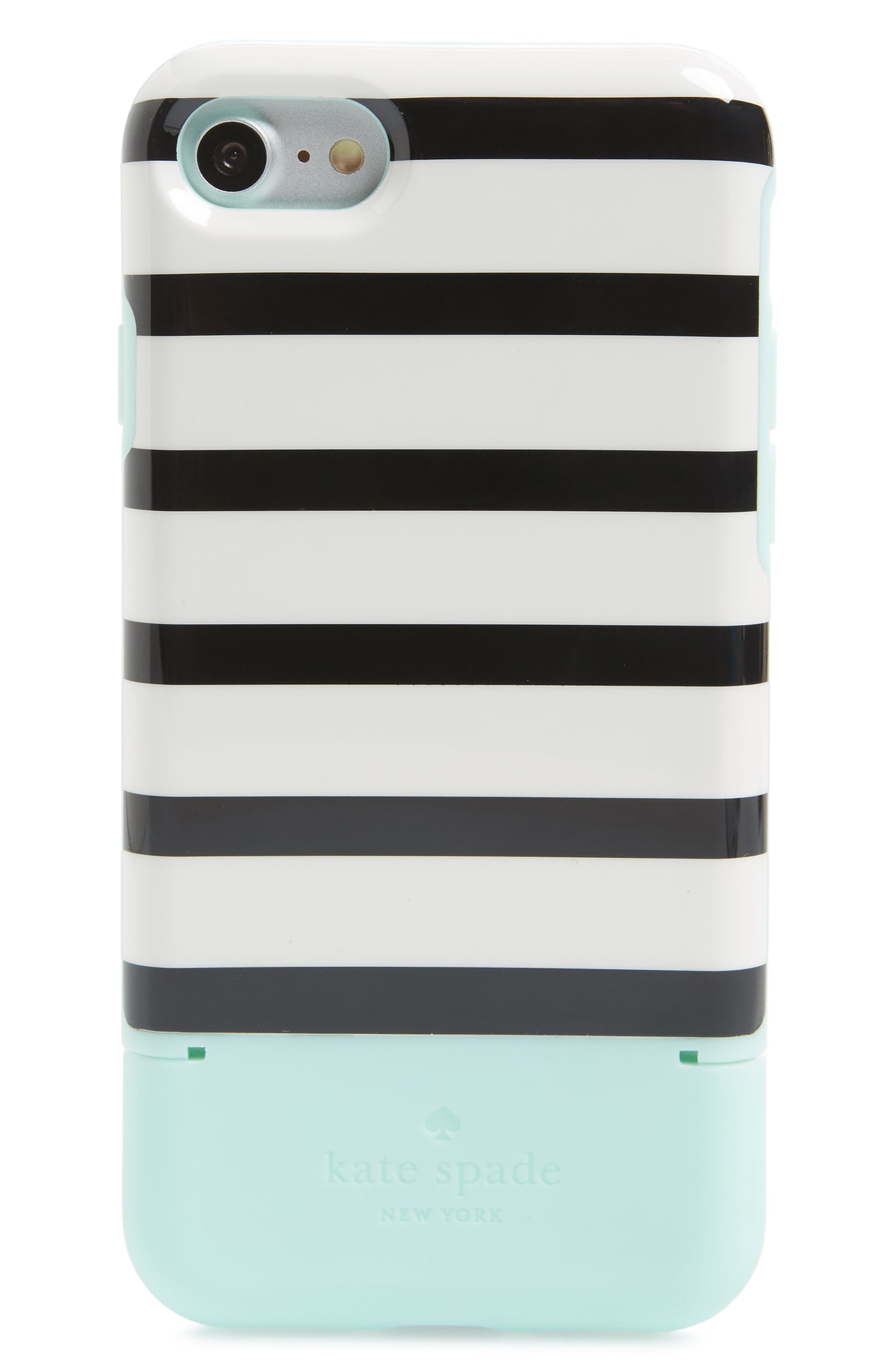 KATE SPADE NEW YORK, stripe credit card iPhone 7/8 & 7/8 Plus case, Main thumbnail 1, color, 395