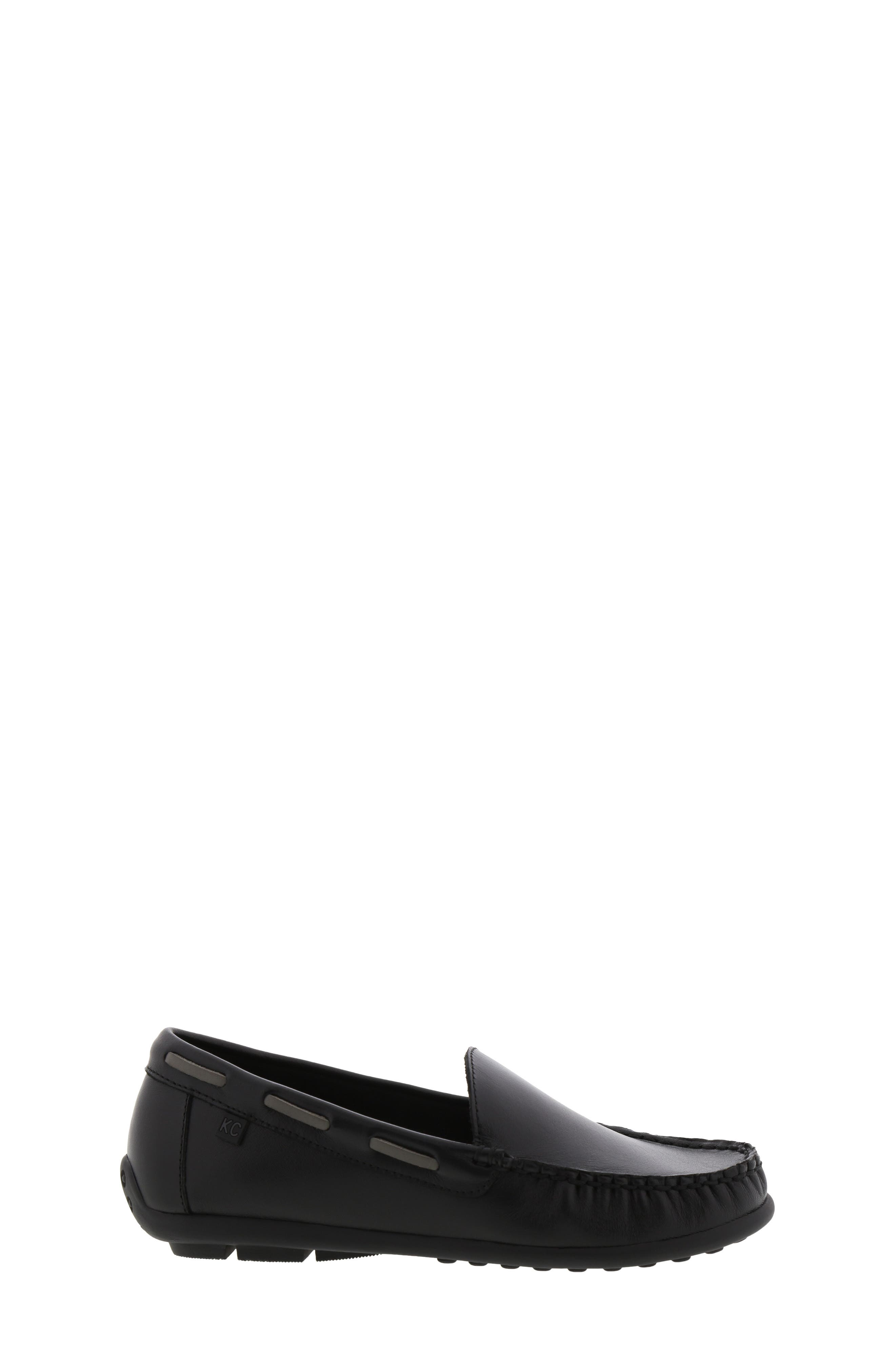 REACTION KENNETH COLE, Helio Shift Driving Moccasin, Alternate thumbnail 3, color, BLACK SMOOTH