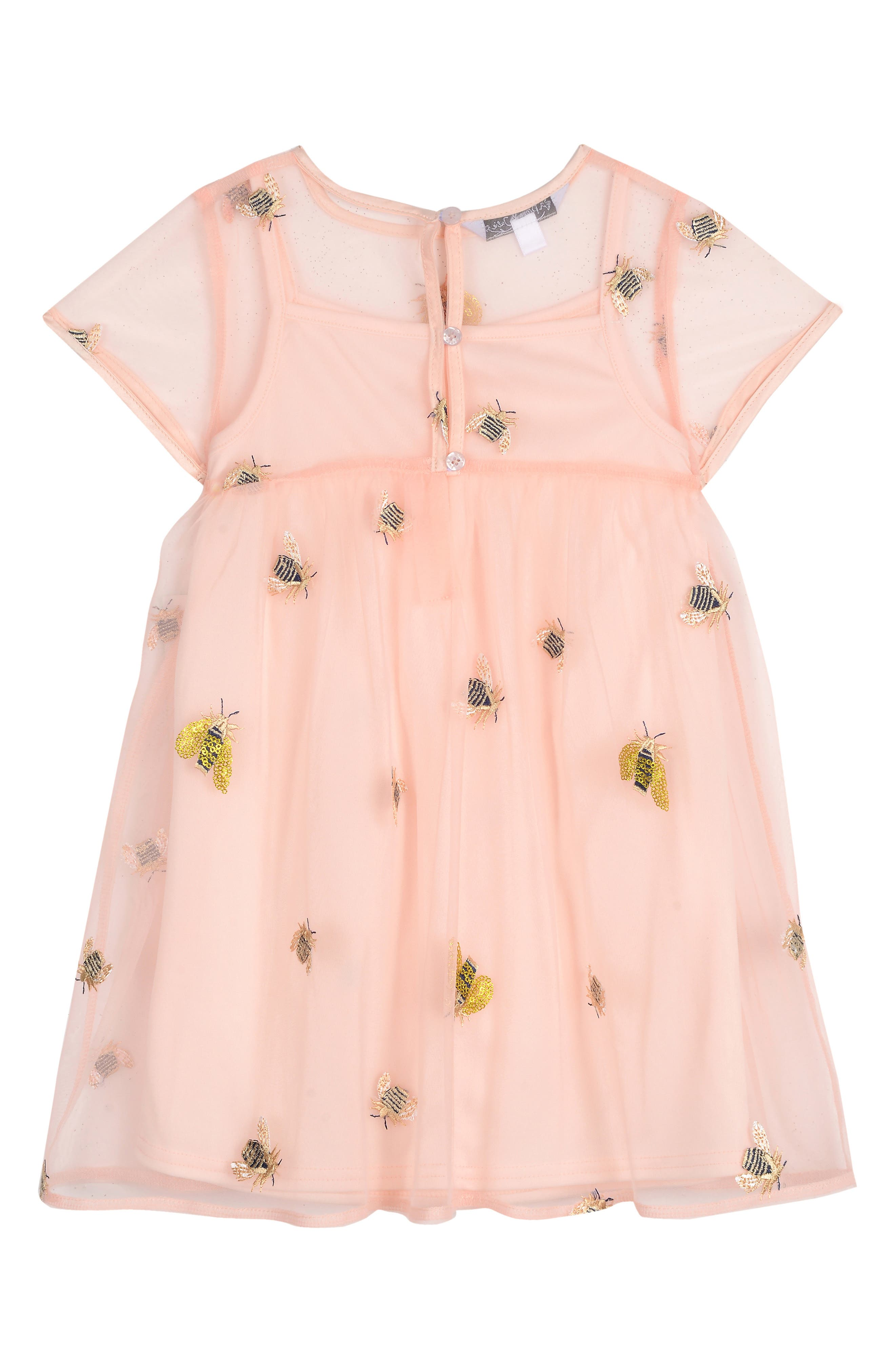 PIPPA & JULIE, Embroidered Bee Dress, Alternate thumbnail 2, color, PINK UNDERLAY