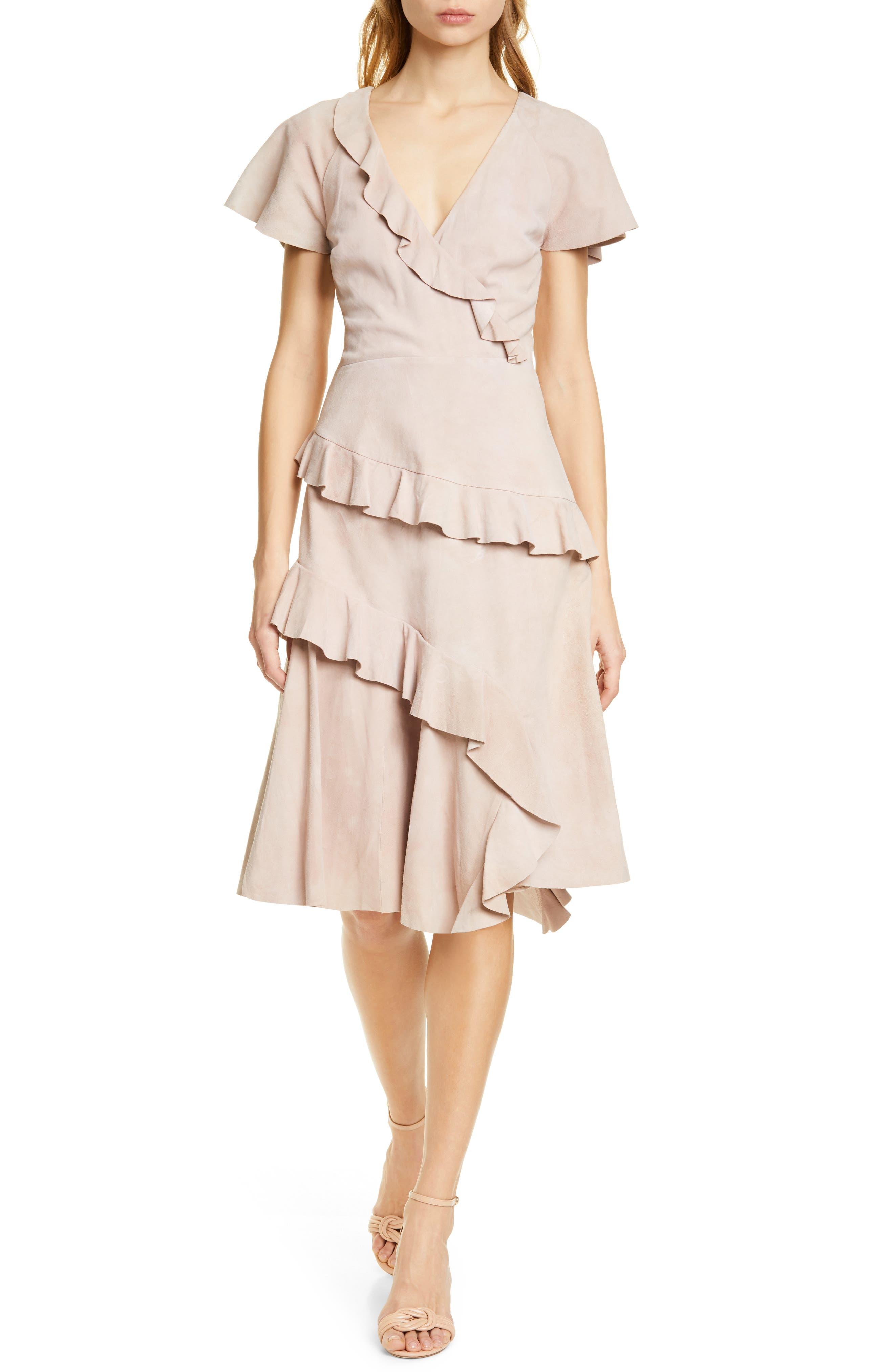 Joie Orita Suede Ruffle Dress, Pink