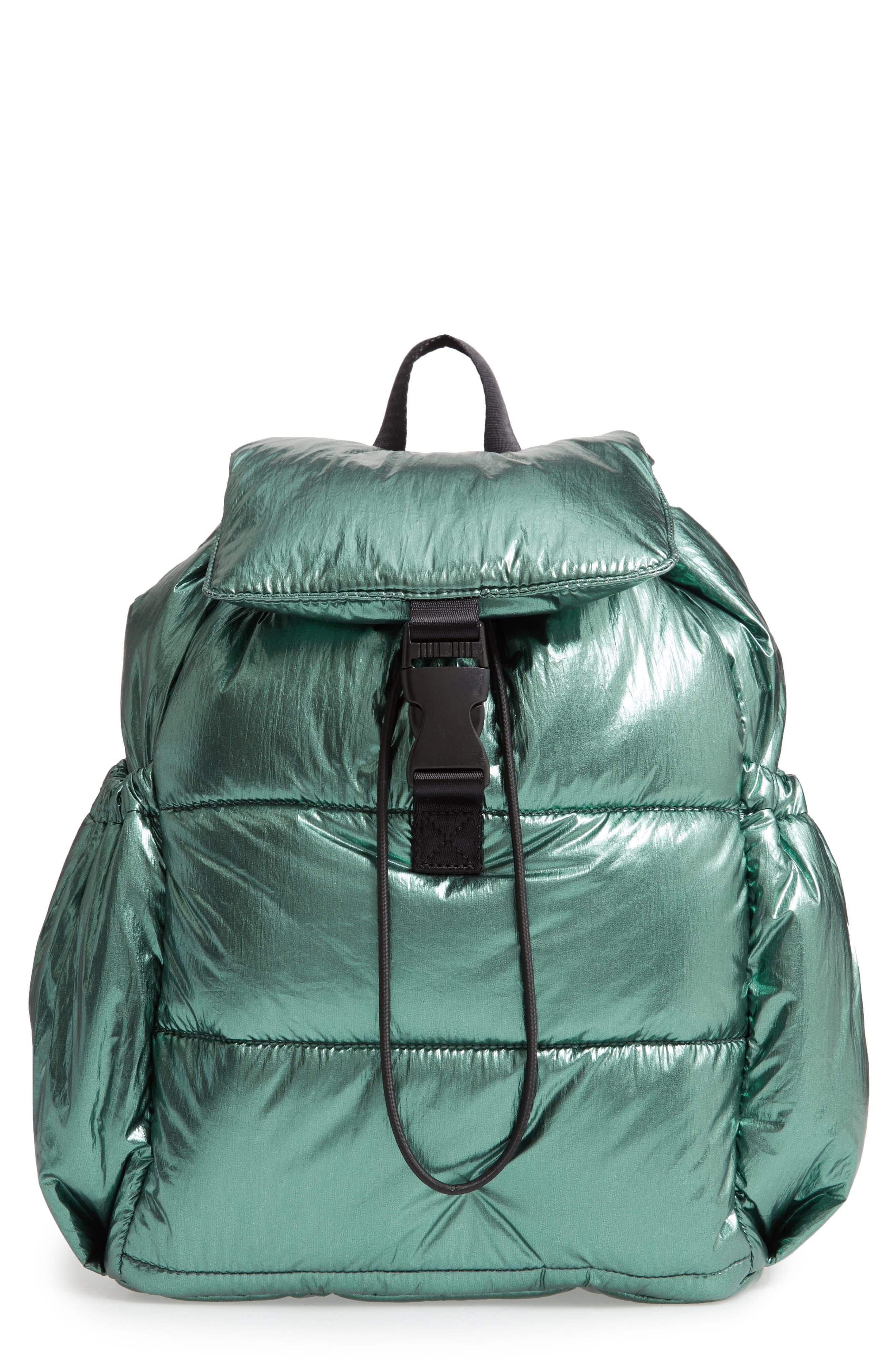 TROUVÉ Teri Nylon Backpack, Main, color, SHINY EMERALD