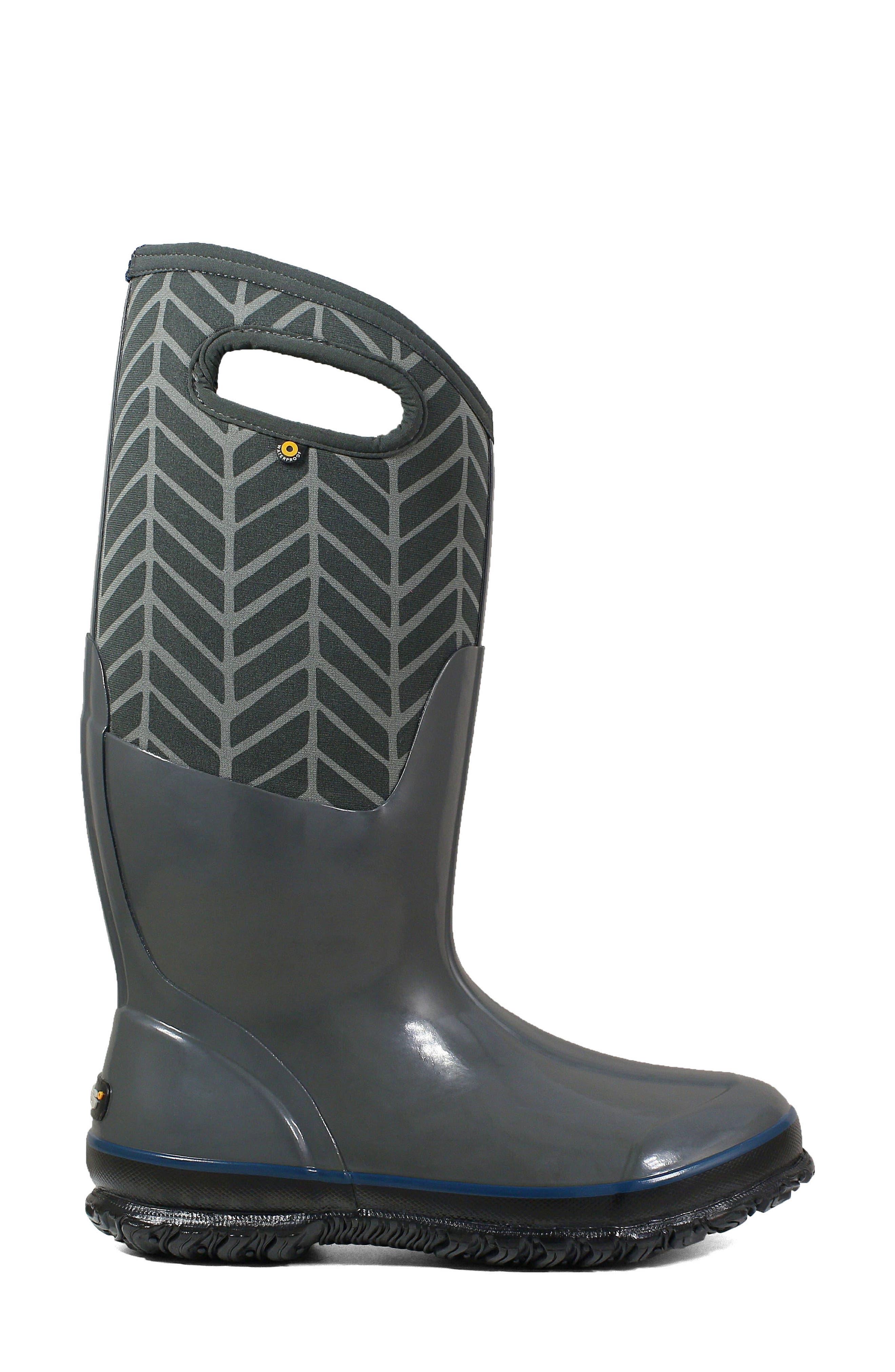 BOGS, Classic Tall Badge Waterproof Snow Boot, Alternate thumbnail 3, color, DARK GREY MULTI