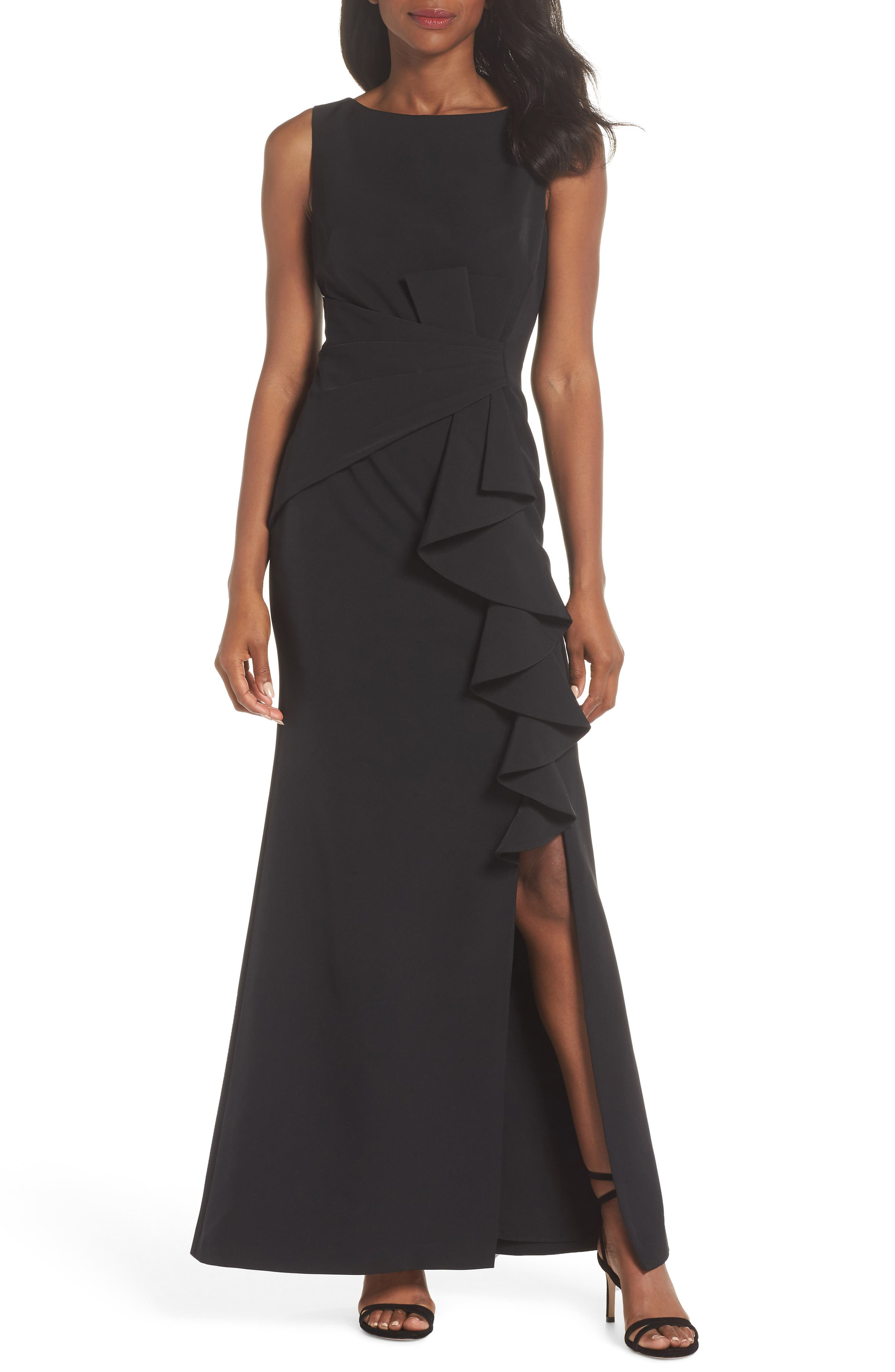 ELIZA J Ruffle Front Gown, Main, color, BLACK