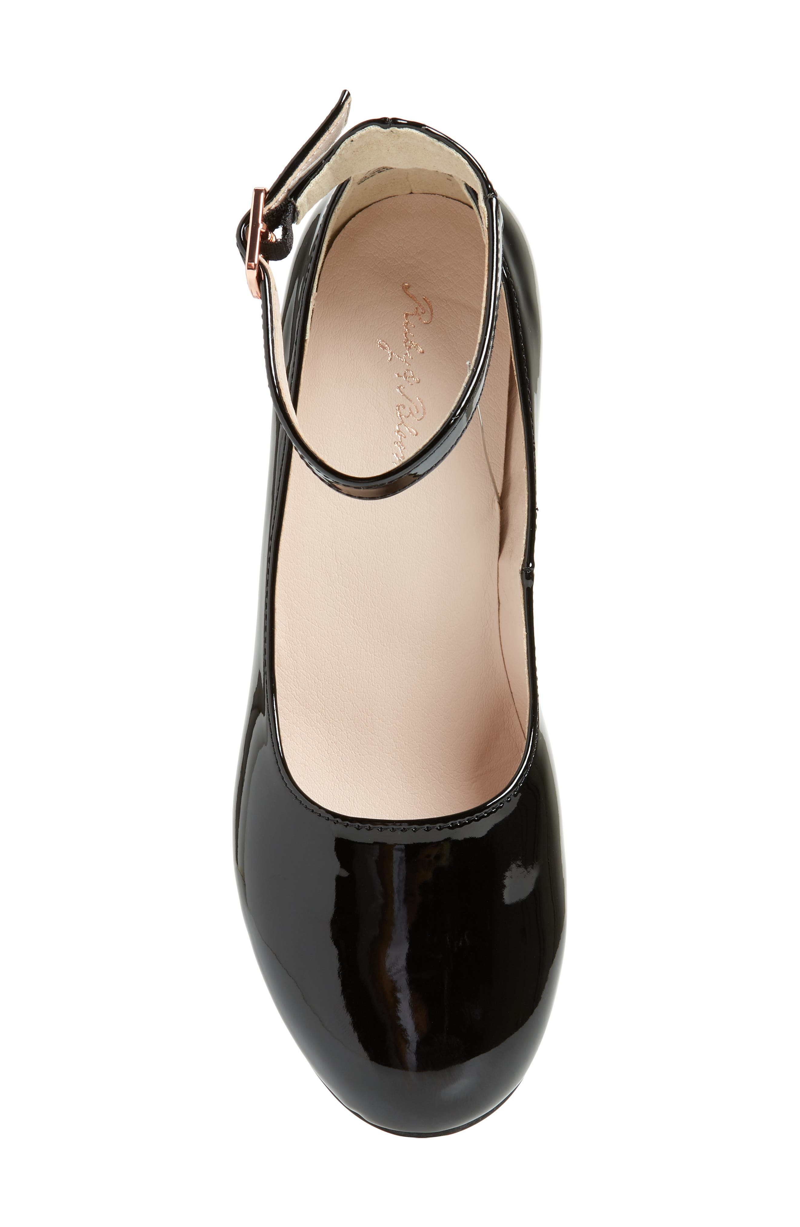 RUBY & BLOOM, Jessica Ankle Strap Pump, Alternate thumbnail 5, color, BLACK PATENT FAUX LEATHER