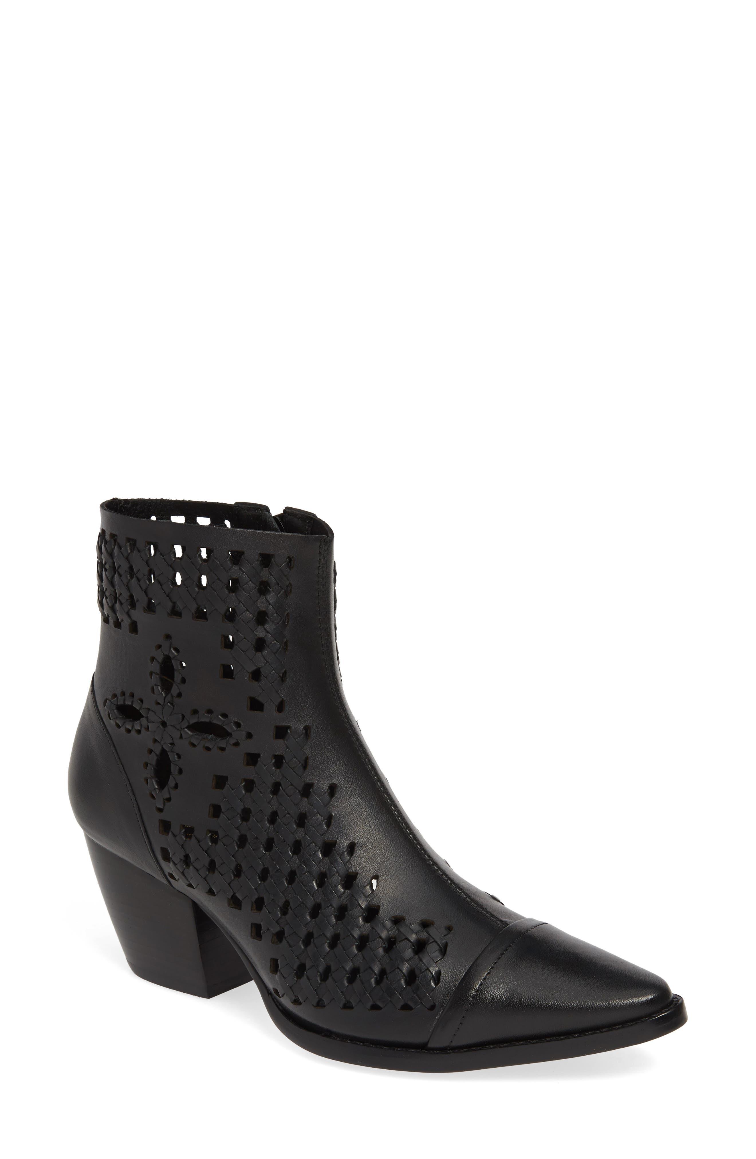 Matisse Bello Woven Pointy Toe Bootie- Black