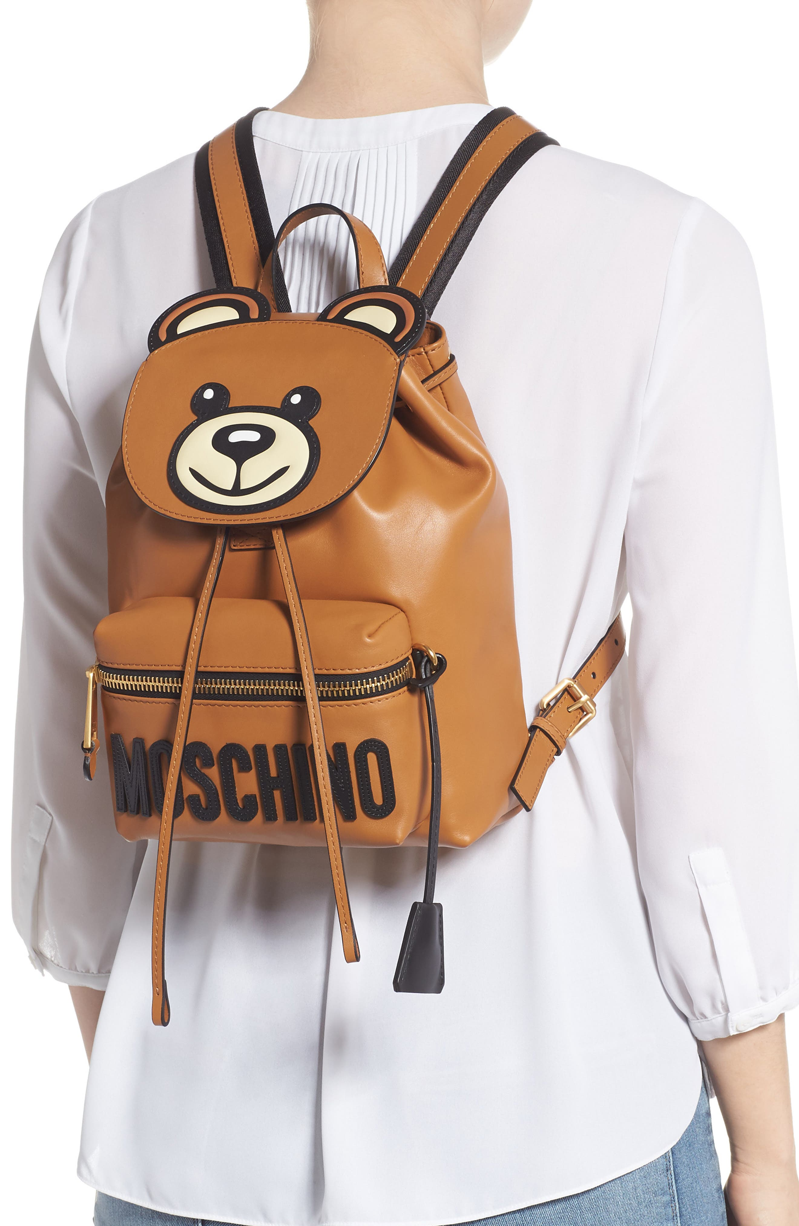 MOSCHINO, Teddy Bear Faux Leather Backpack, Alternate thumbnail 2, color, BROWN