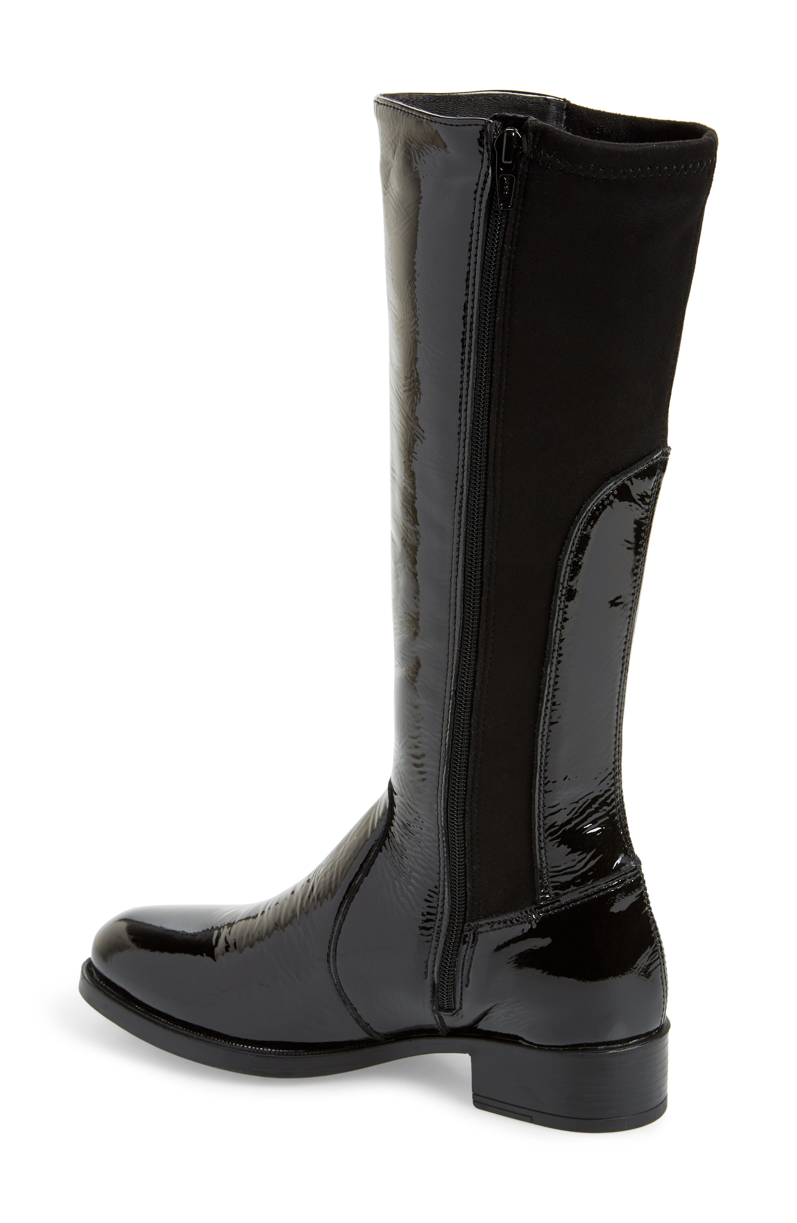 BOS. & CO., Brook Waterproof Knee High Boot, Alternate thumbnail 2, color, BLACK PATENT LEATHER
