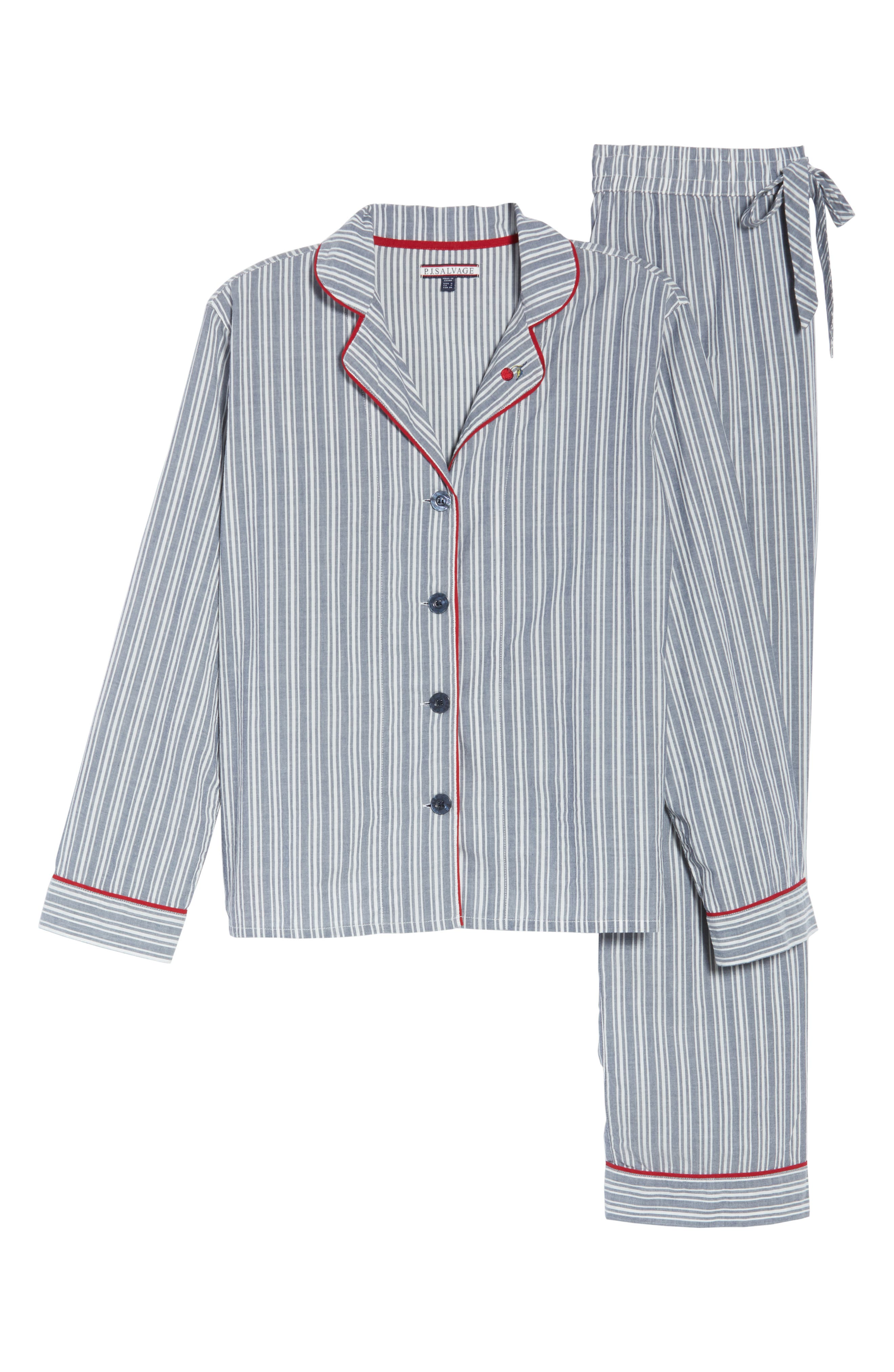 PJ SALVAGE, Mon Cheri Pajamas, Alternate thumbnail 6, color, DENIM