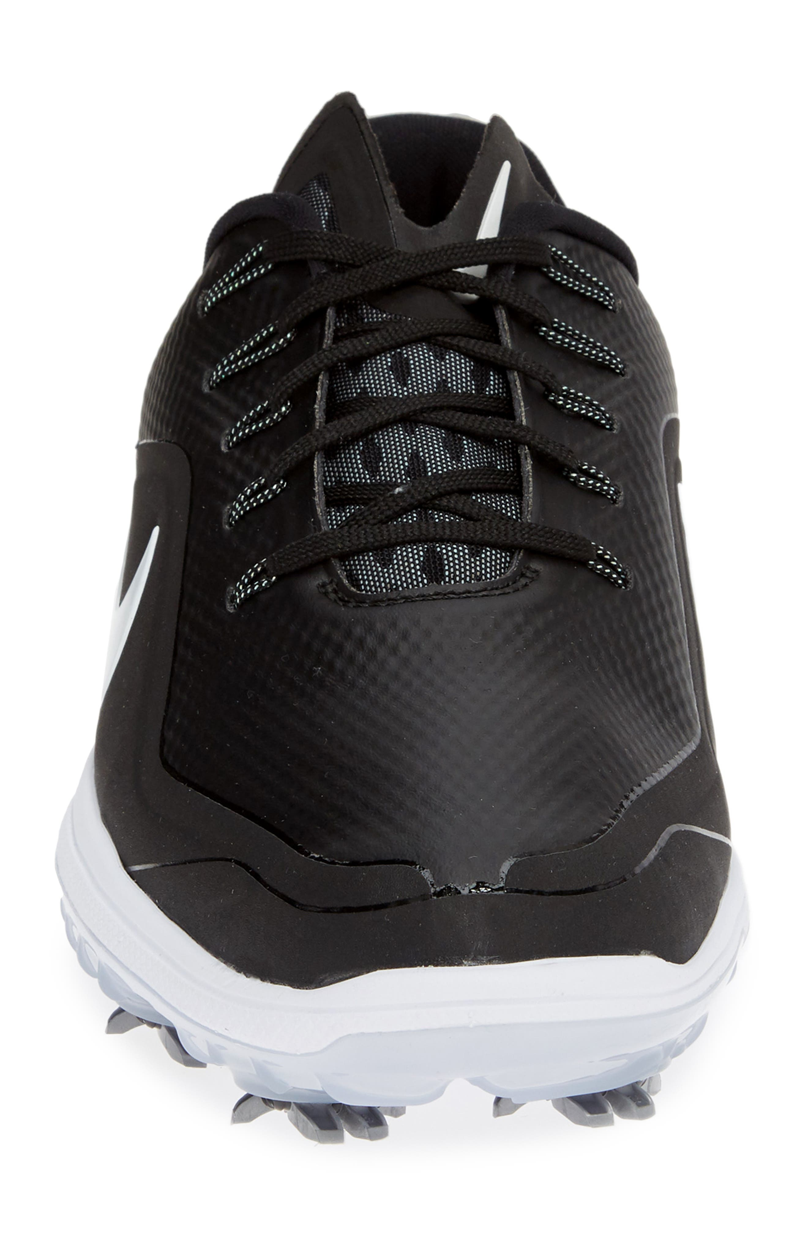 NIKE, React Vapor 2 Golf Shoe, Alternate thumbnail 4, color, BLACK/ METALLIC WHITE