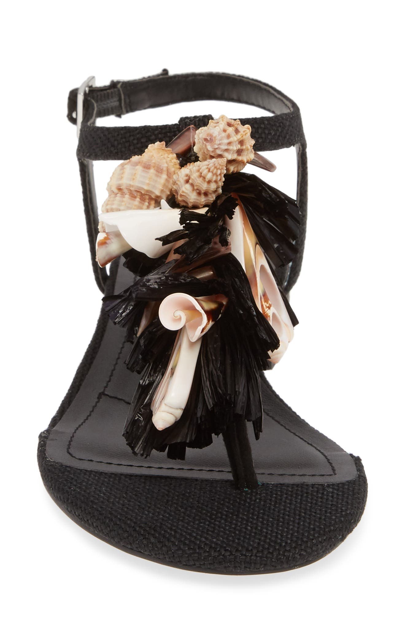 CHARLES BY CHARLES DAVID, Seashell Sandal, Alternate thumbnail 4, color, BLACK FABRIC