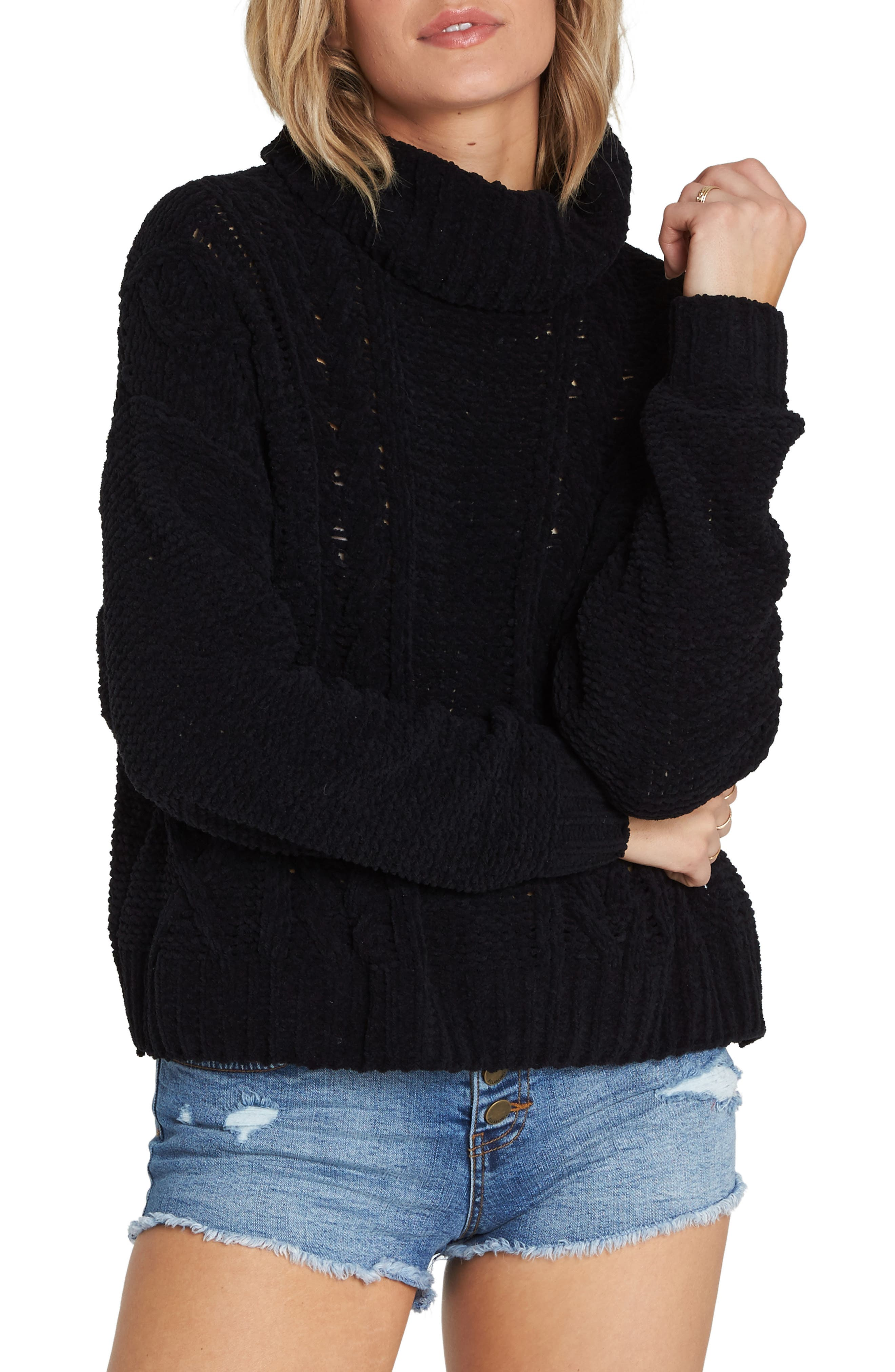 BILLABONG Cable Knit Turtleneck Sweater, Main, color, 001