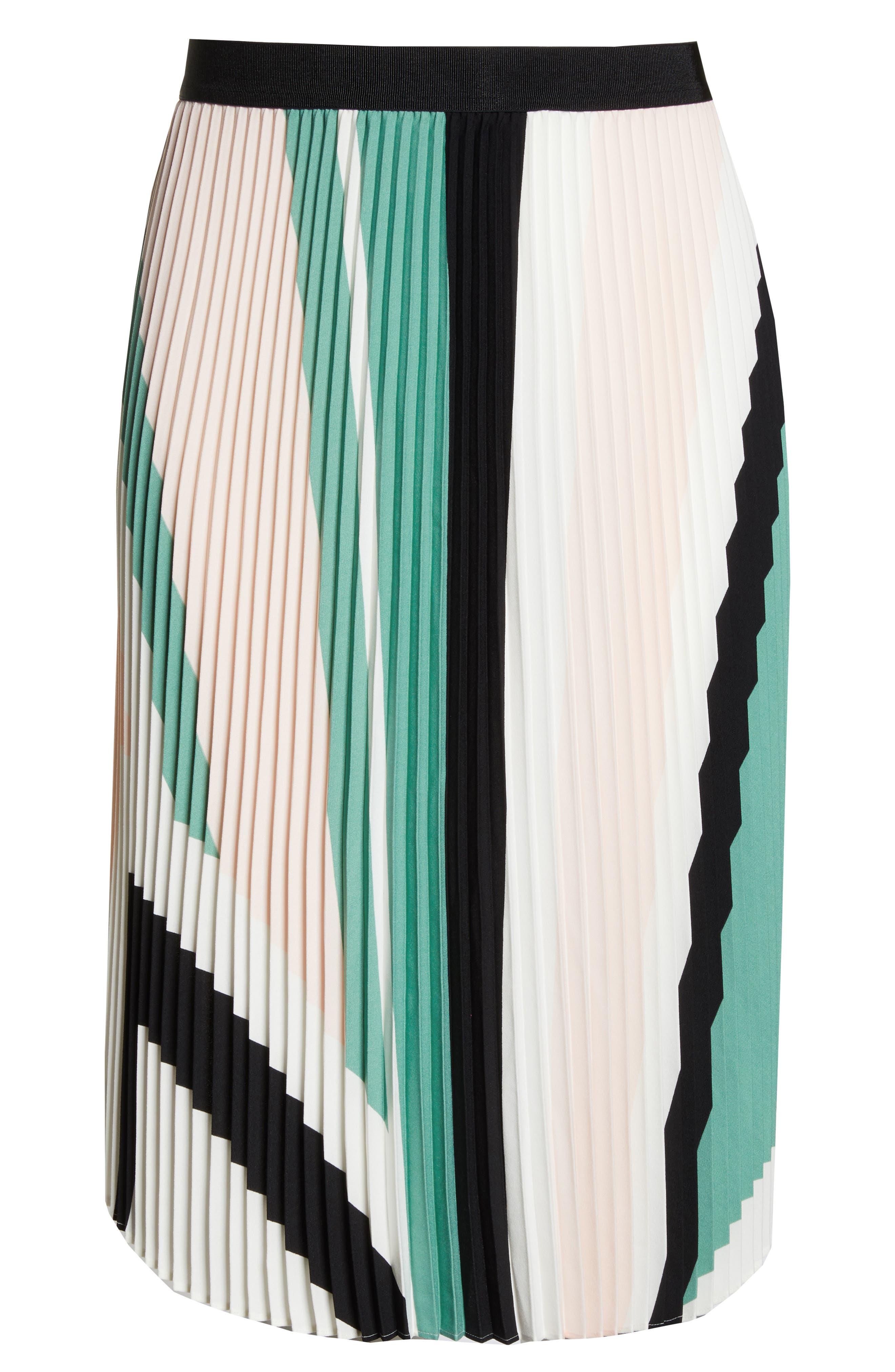 LEITH, Pleated Midi Skirt, Alternate thumbnail 12, color, PINK CHINTZ TRIANGLE STRIPE
