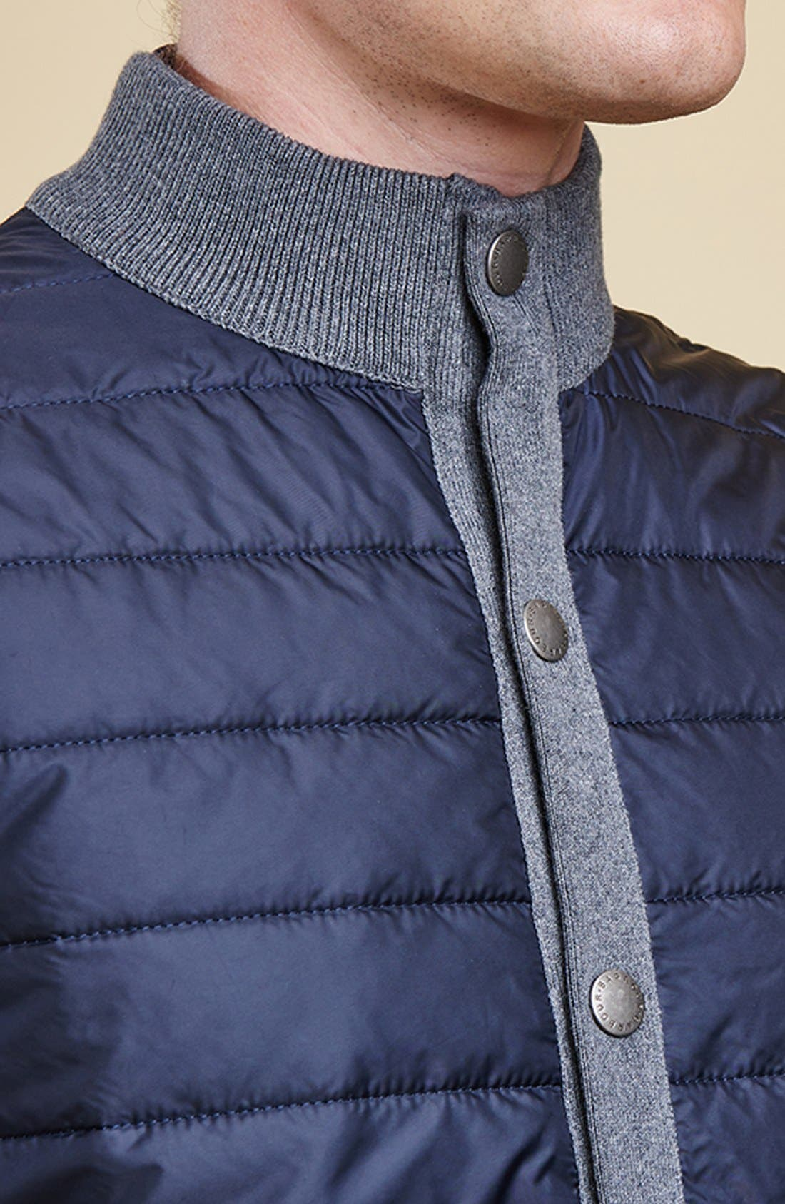 BARBOUR, 'Essential' Tailored Fit Mixed Media Vest, Alternate thumbnail 12, color, MID GREY