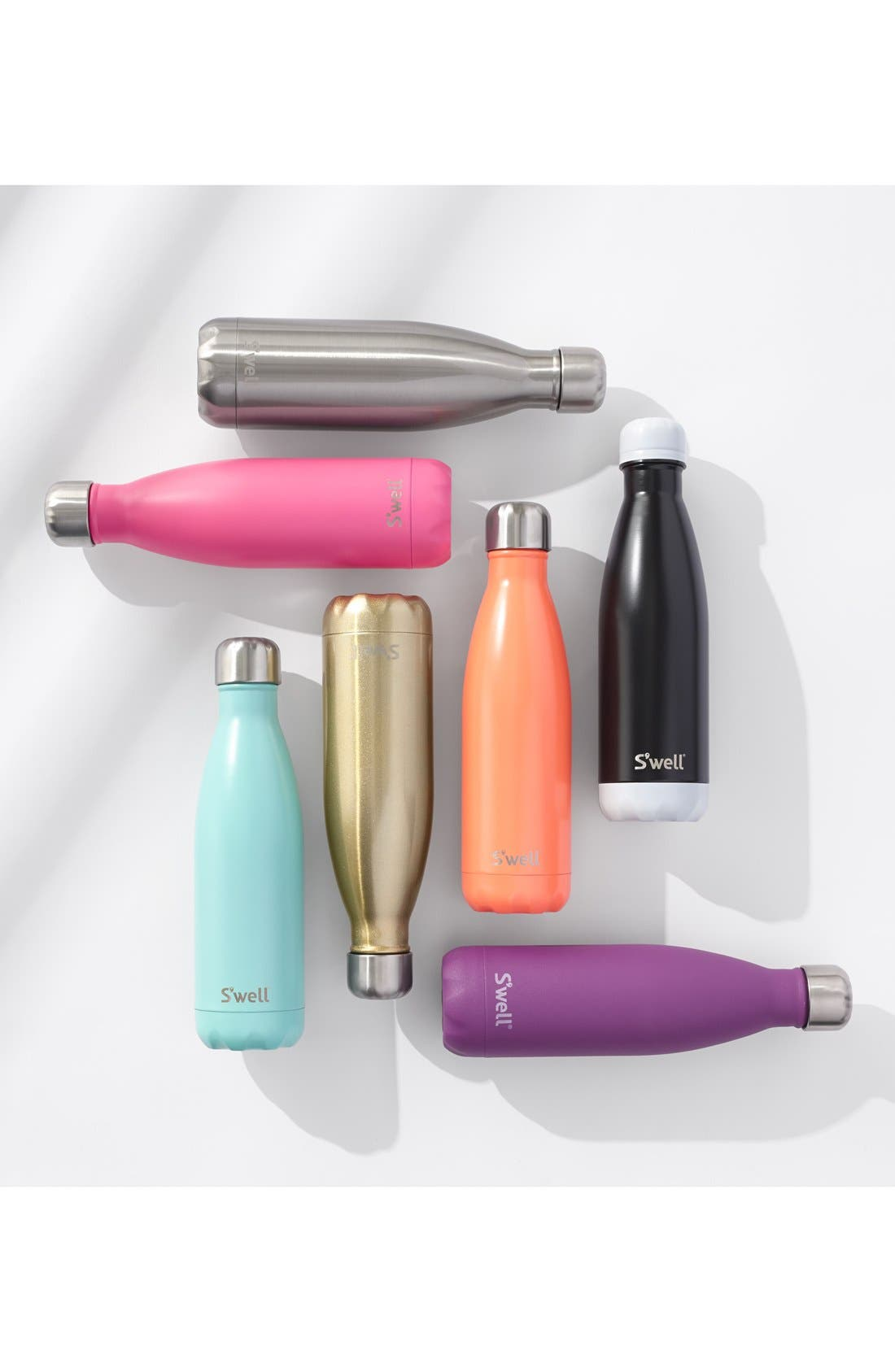 S'WELL, 'Turquoise Blue' Stainless Steel Water Bottle, Alternate thumbnail 6, color, 440