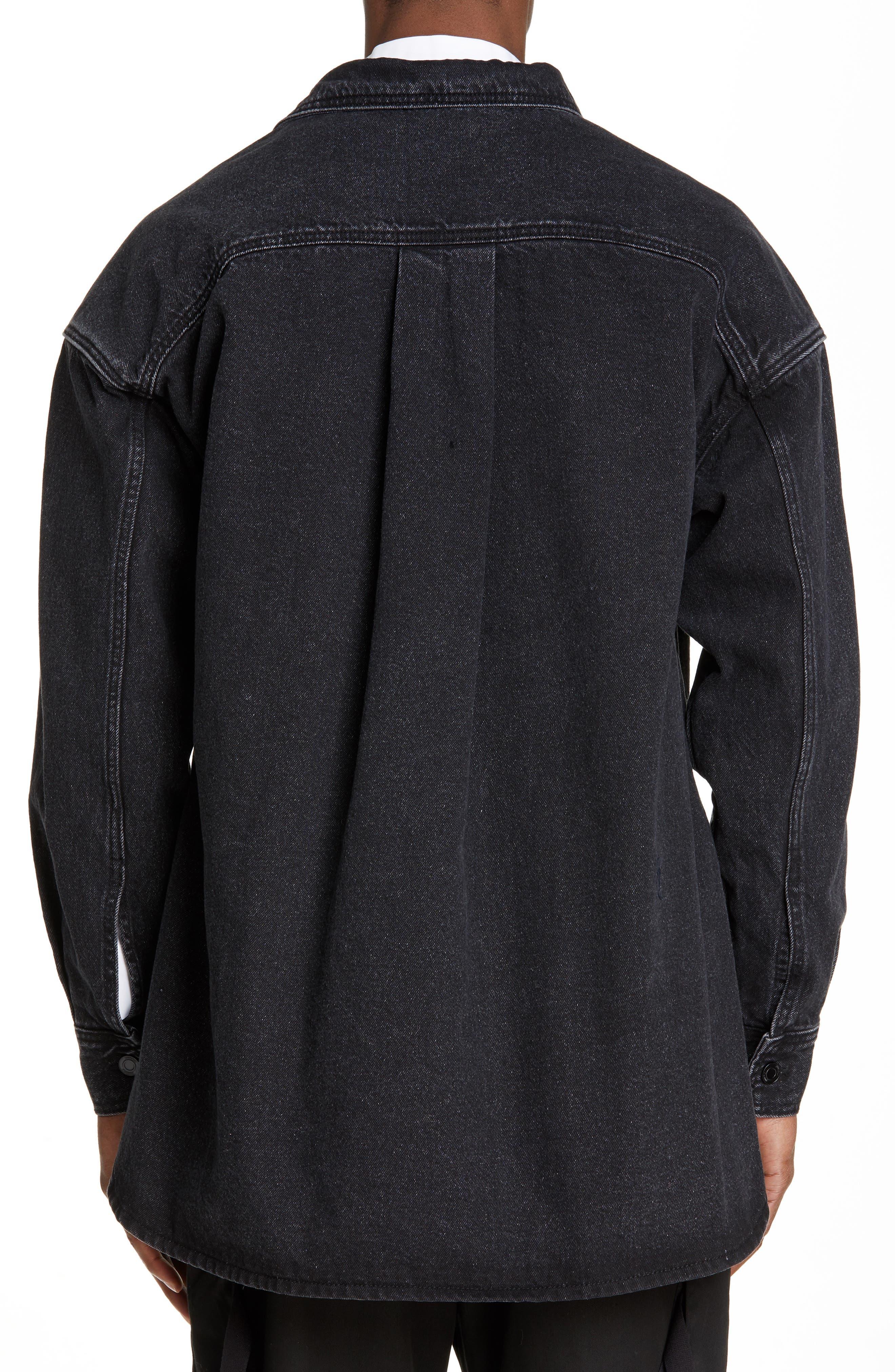 JUUN.J, Denim Shirt with Detachable Hood, Alternate thumbnail 3, color, BLACK