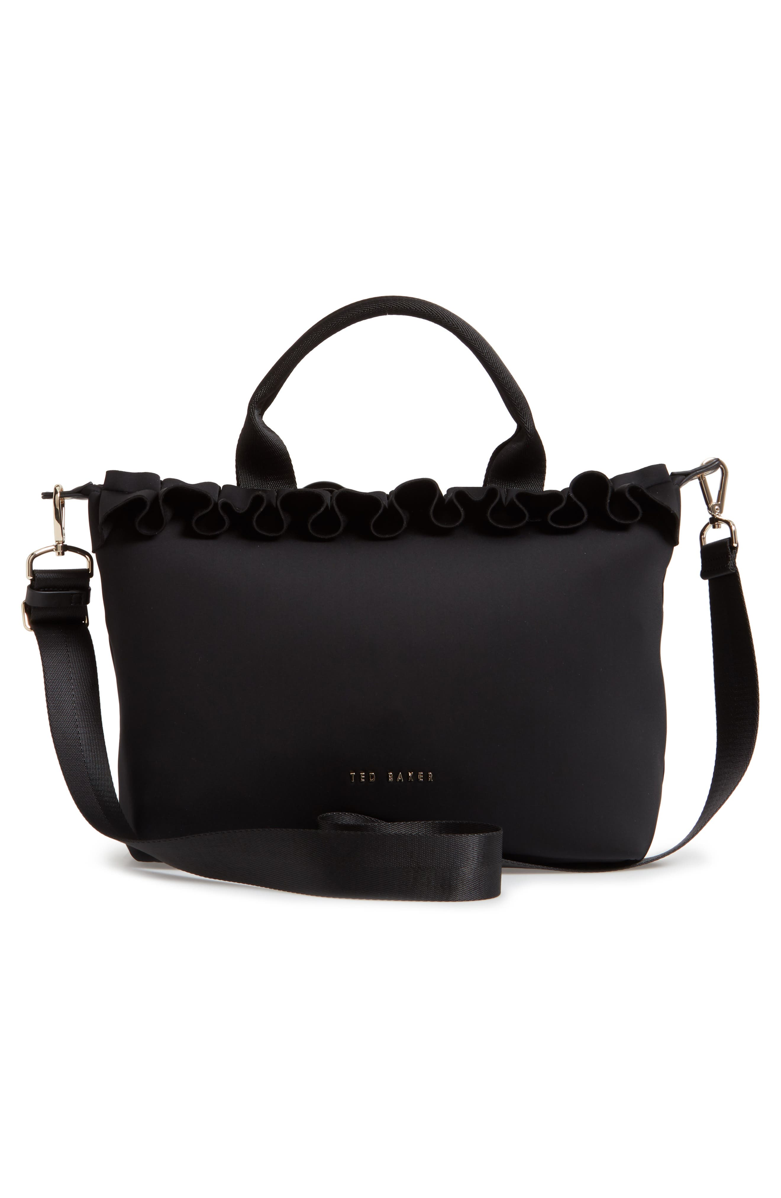 TED BAKER LONDON, Ryllee Ruffle Tote, Alternate thumbnail 4, color, 001