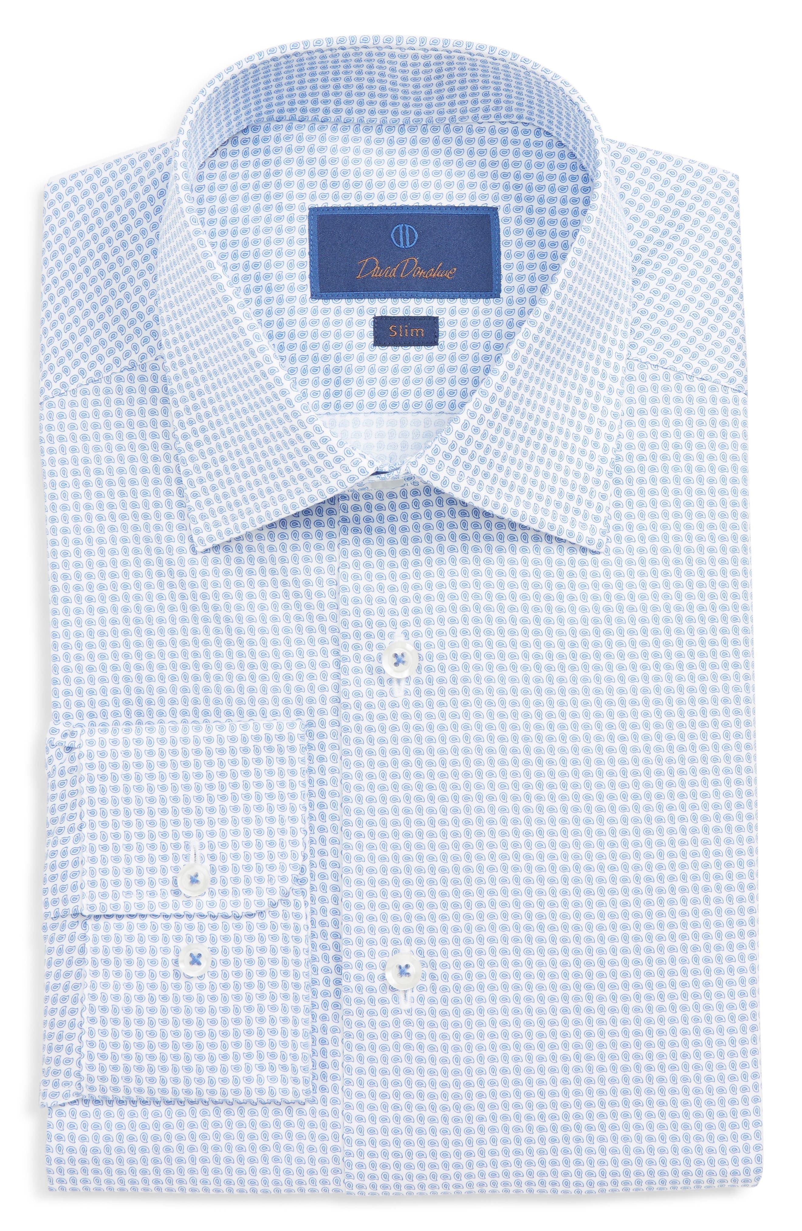 DAVID DONAHUE, Slim Fit Paisley Dress Shirt, Main thumbnail 1, color, BLUE