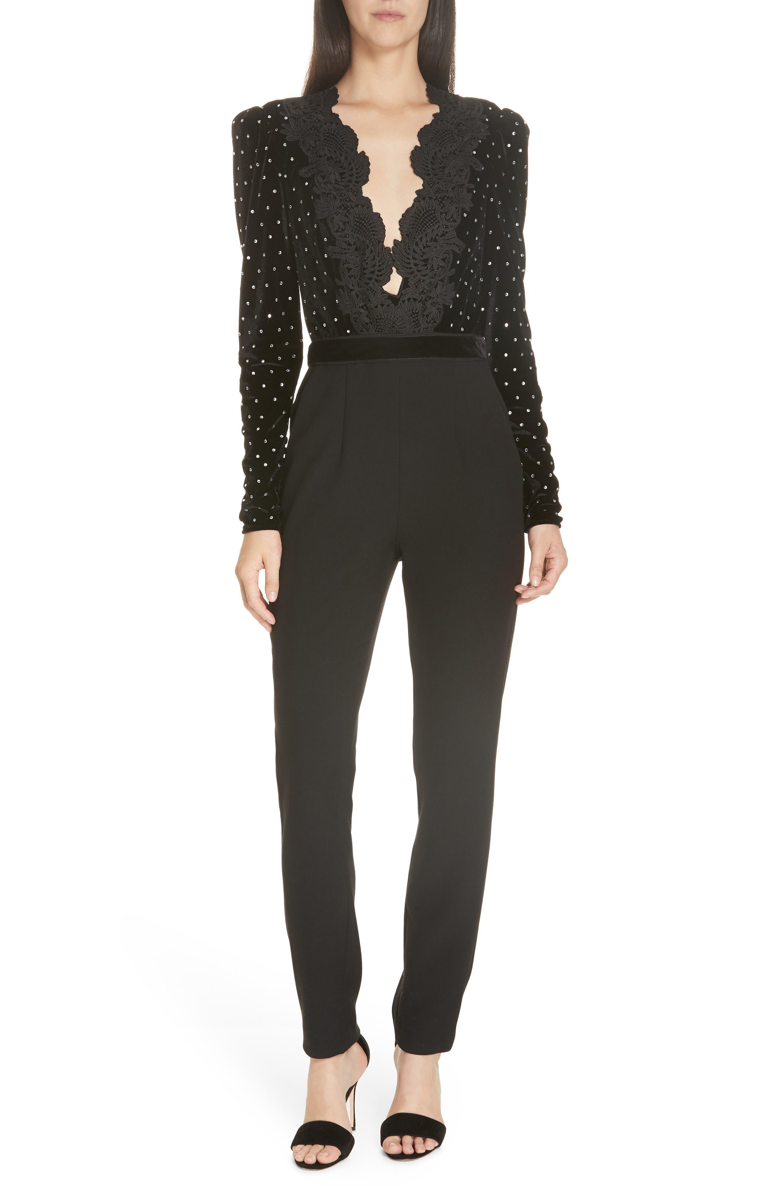 SELF-PORTRAIT, Lace Trim Velvet Diamante Jumpsuit, Main thumbnail 1, color, BLACK