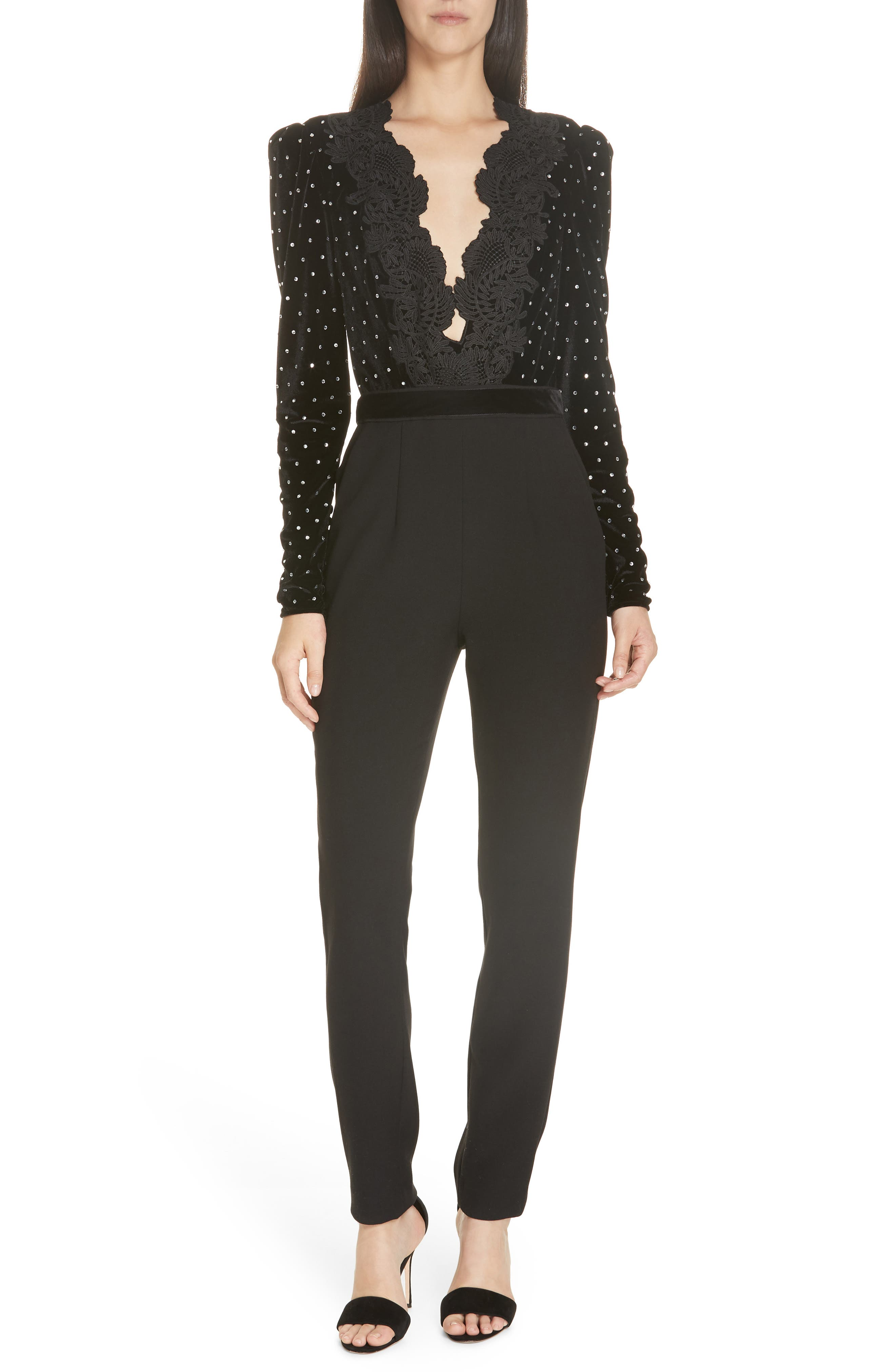 SELF-PORTRAIT Lace Trim Velvet Diamante Jumpsuit, Main, color, BLACK