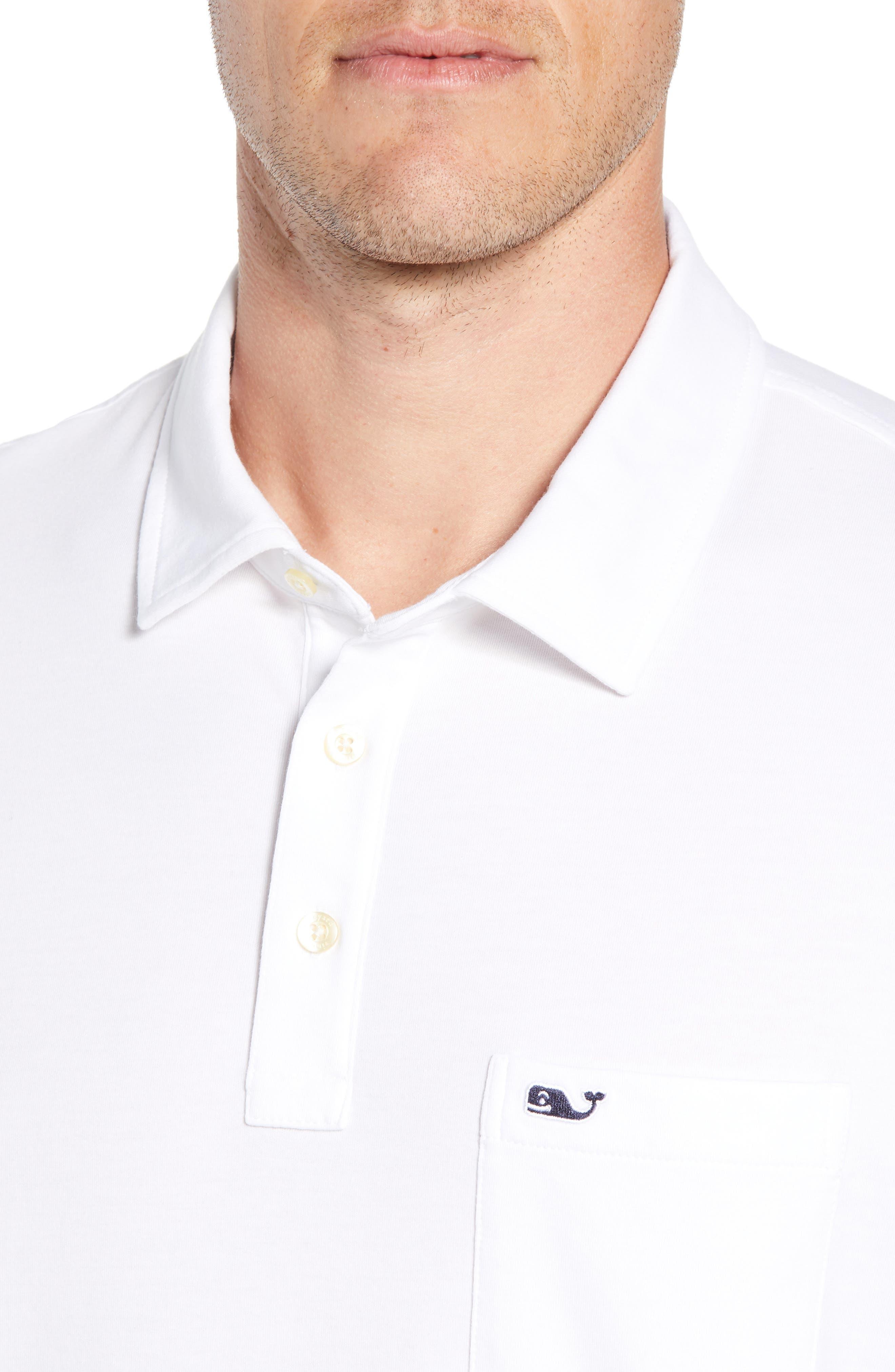 VINEYARD VINES, Edgartown Polo Shirt, Alternate thumbnail 4, color, WHITE CAP