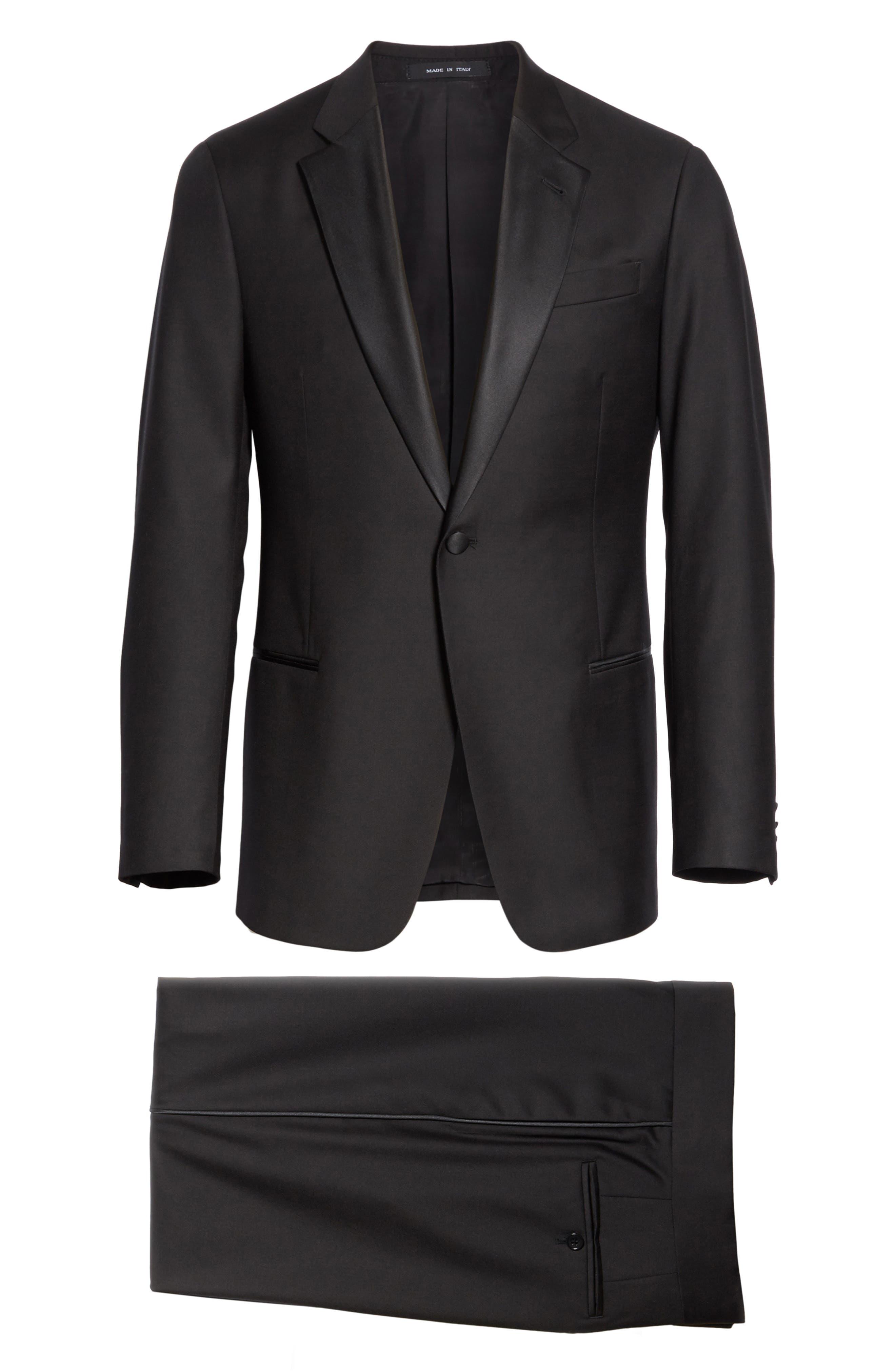 EMPORIO ARMANI, Trim Fit Wool Tuxedo, Alternate thumbnail 8, color, BLACK