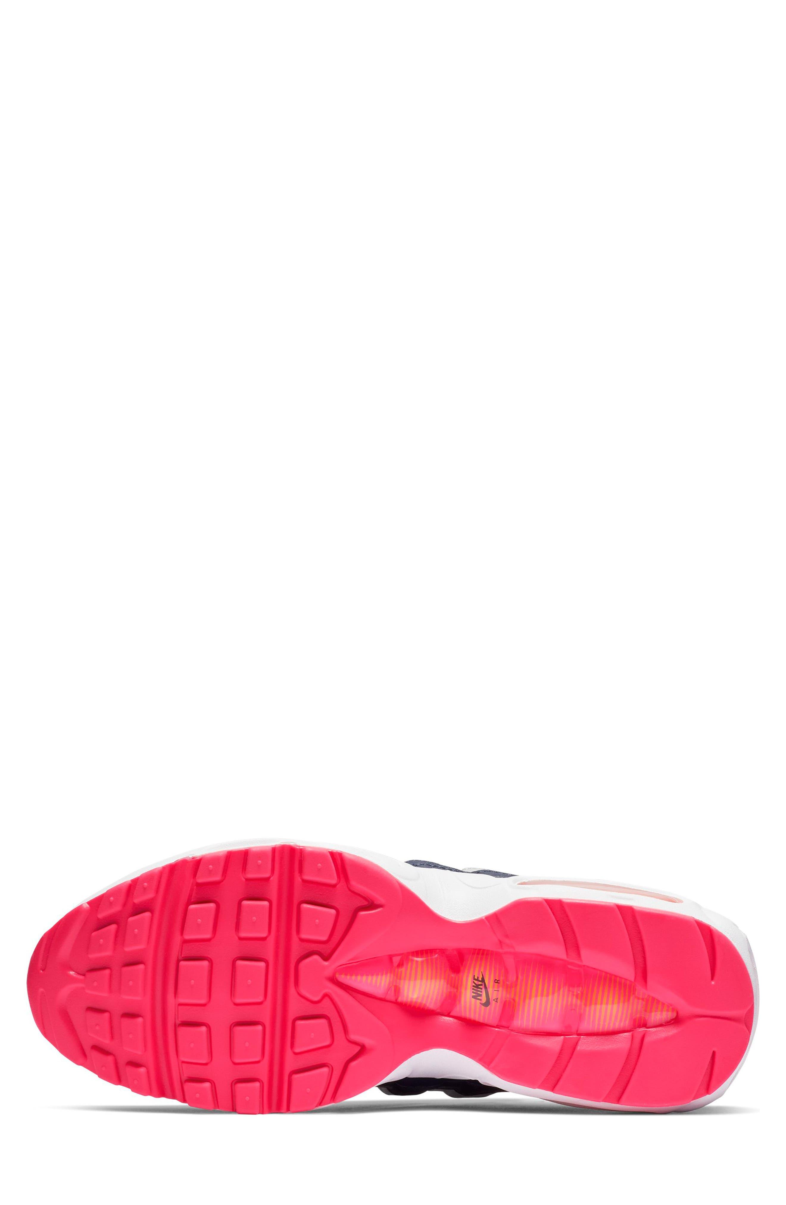 NIKE, Air Max 95 Running Shoe, Alternate thumbnail 5, color, NAVY/ LASER ORANGE/ PLATINUM