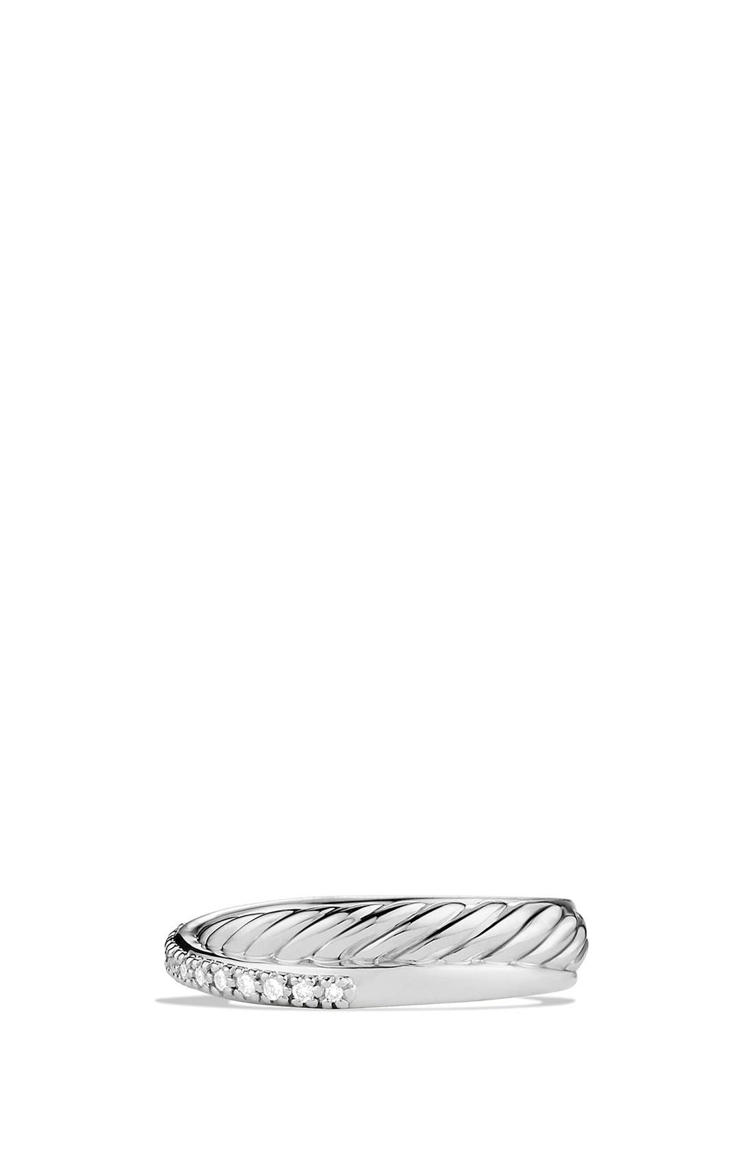 DAVID YURMAN, 'Crossover' Ring with Diamonds, Alternate thumbnail 4, color, SILVER