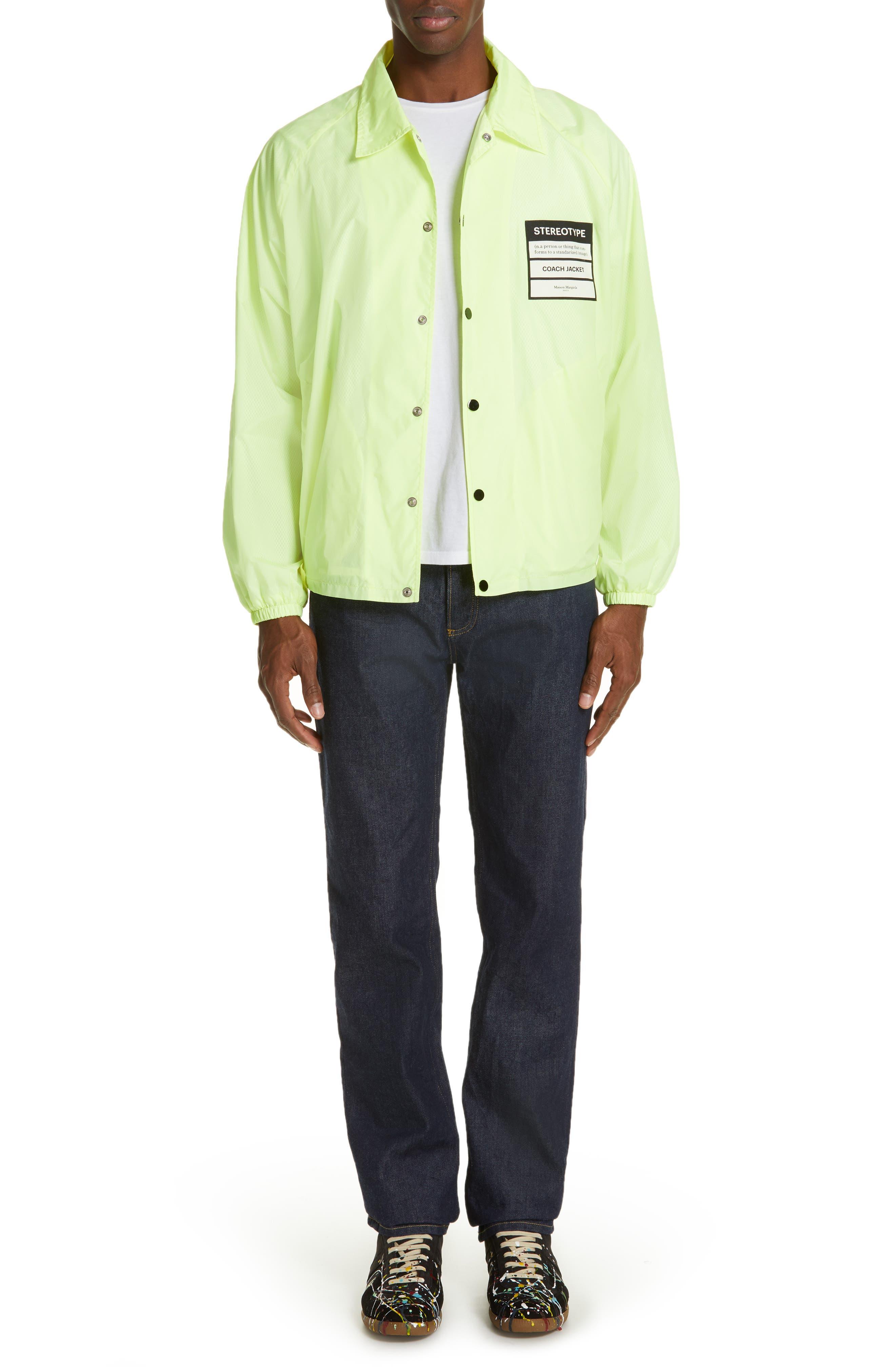 MAISON MARGIELA, Stereotype Coach's Jacket, Alternate thumbnail 7, color, NEON YELLOW