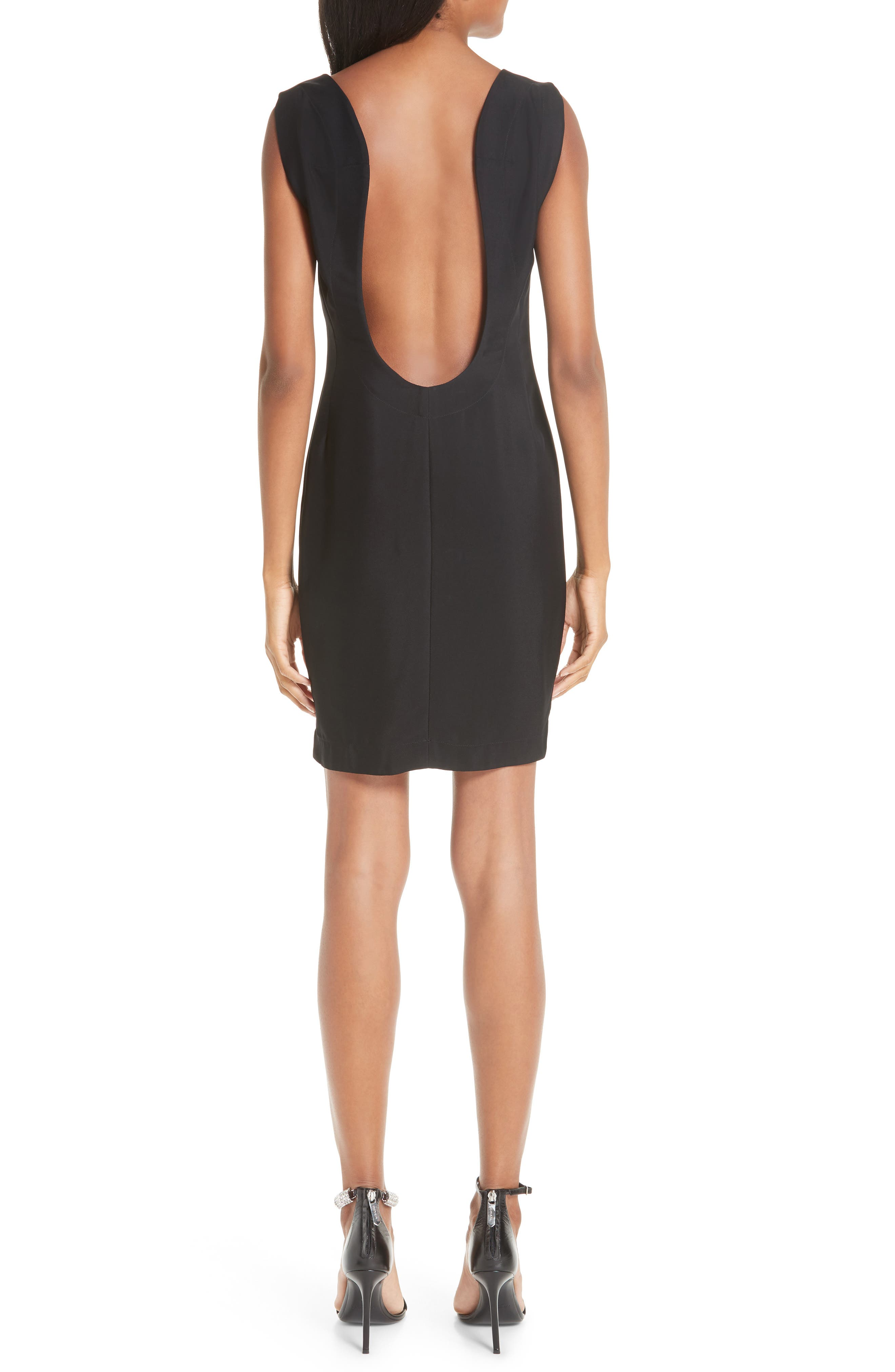 CALVIN KLEIN 205W39NYC, Open Back Cady Dress, Alternate thumbnail 2, color, BLACK