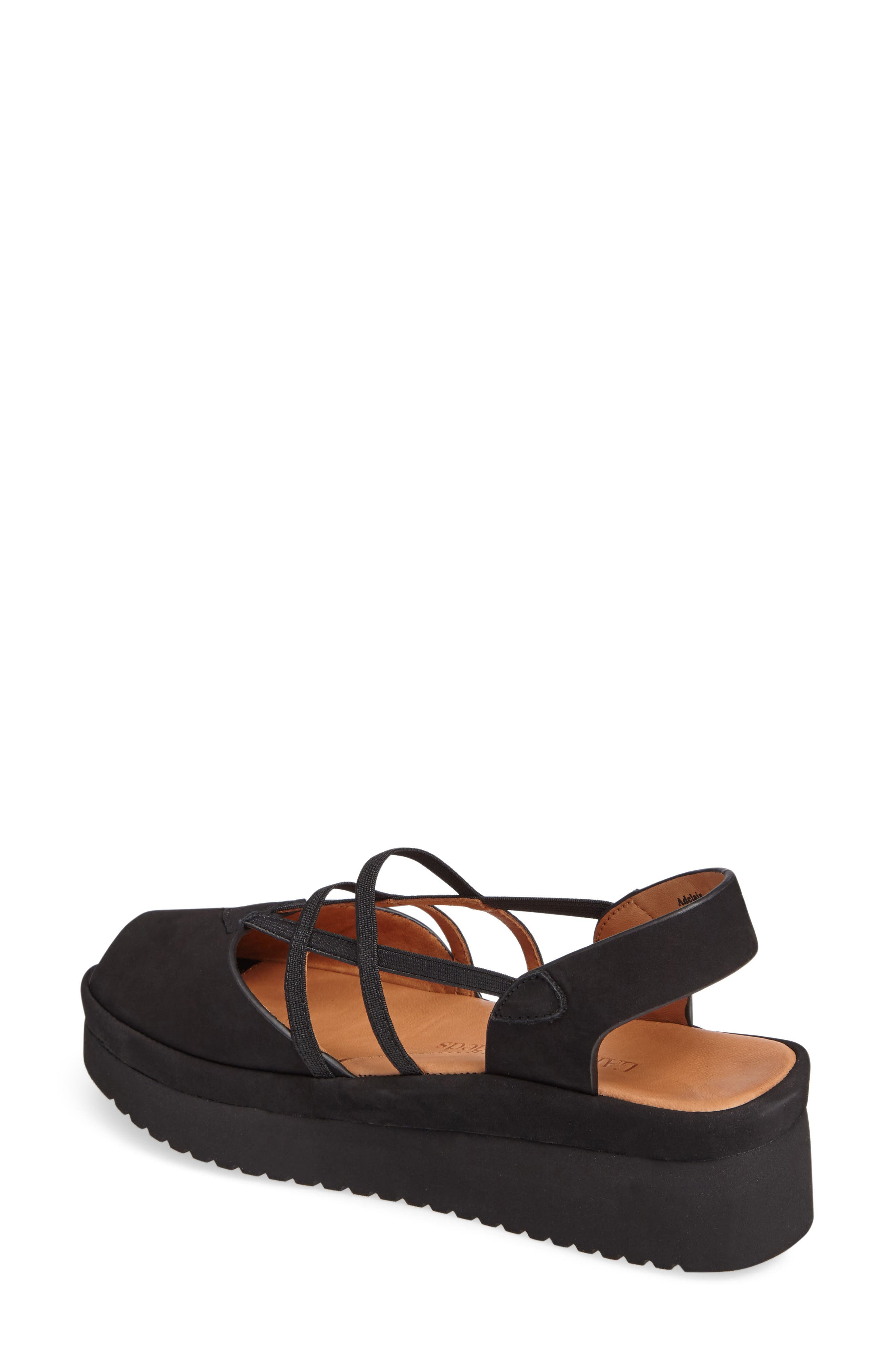 L'AMOUR DES PIEDS, Adelais Platform Wedge Sandal, Alternate thumbnail 2, color, BLACK NUBUCK LEATHER